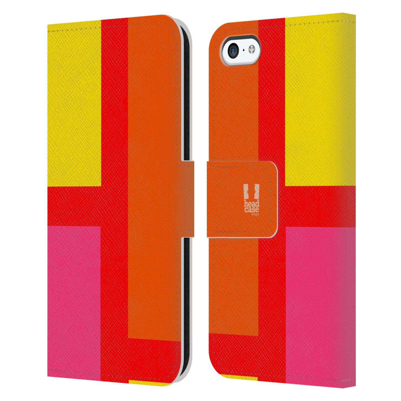 HEAD CASE Flipové pouzdro pro mobil Apple Iphone 5C barevné tvary oranžová ulice