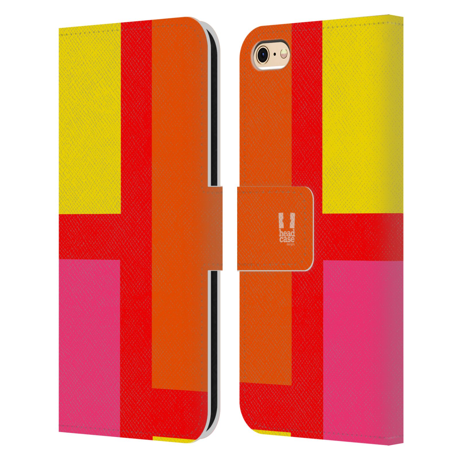 HEAD CASE Flipové pouzdro pro mobil Apple Iphone 6/6s barevné tvary oranžová ulice
