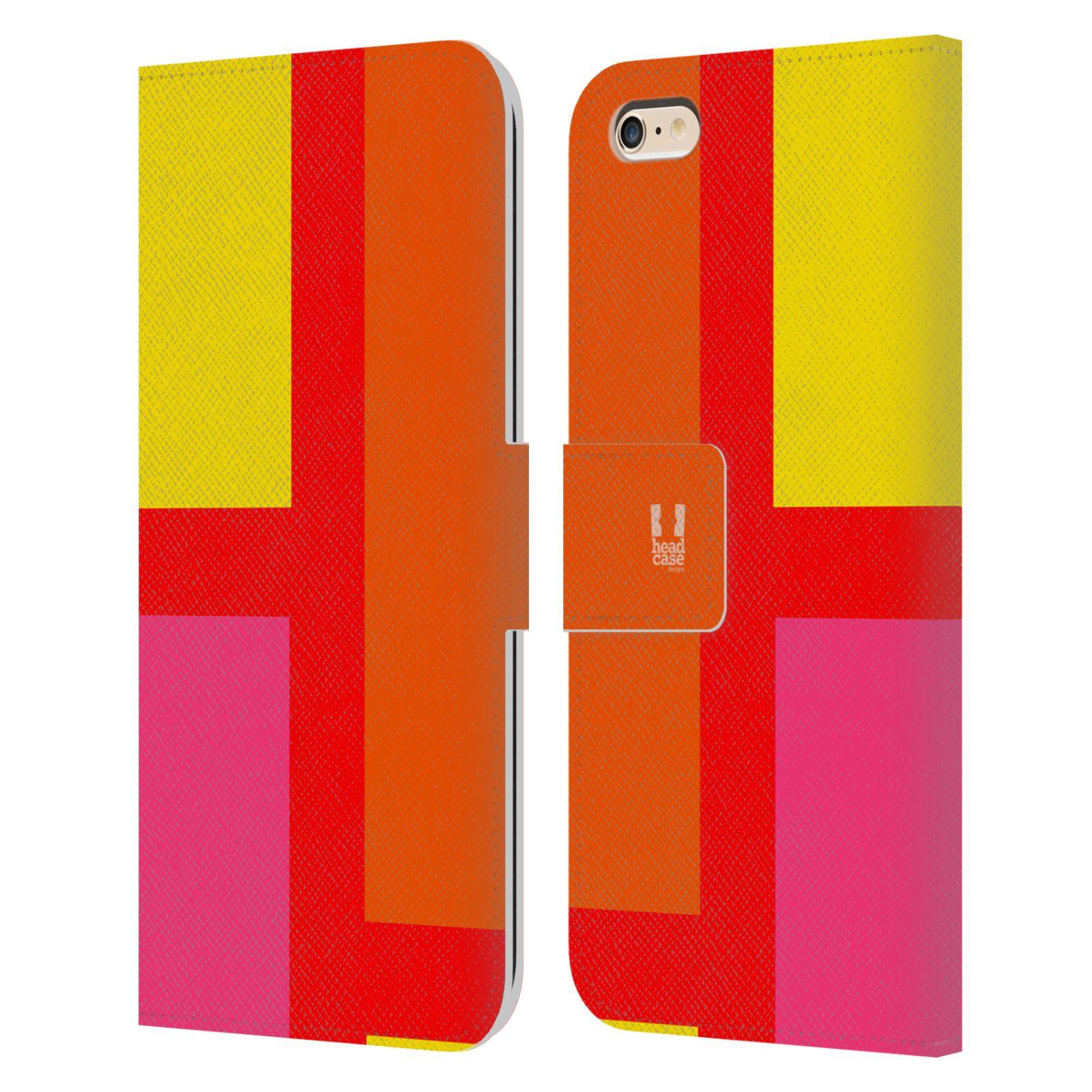 HEAD CASE Flipové pouzdro pro mobil Apple Iphone 6 PLUS/6S PLUS barevné tvary oranžová ulice