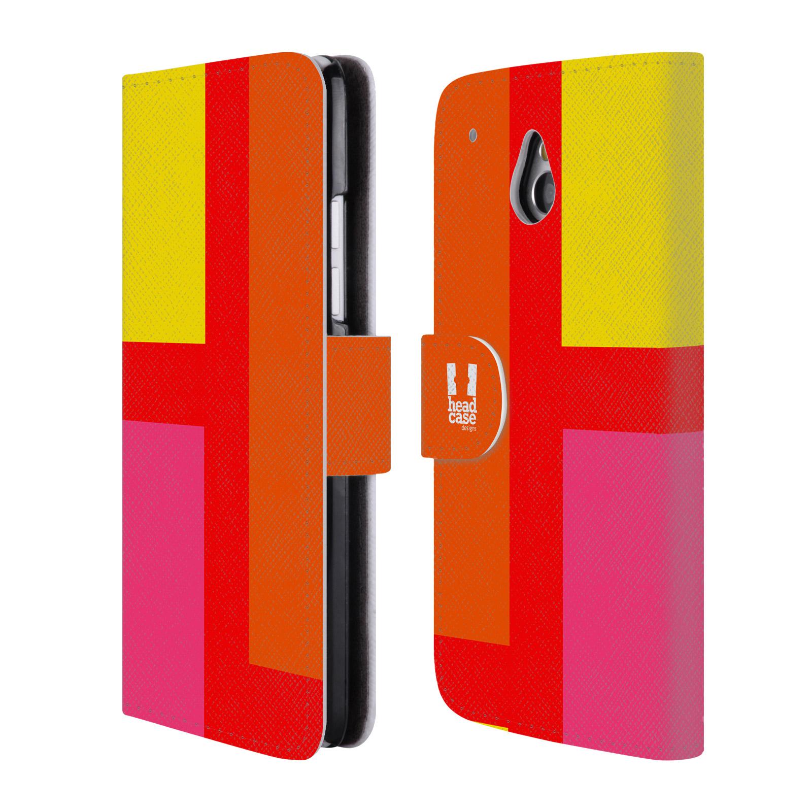 HEAD CASE Flipové pouzdro pro mobil HTC ONE MINI barevné tvary oranžová ulice