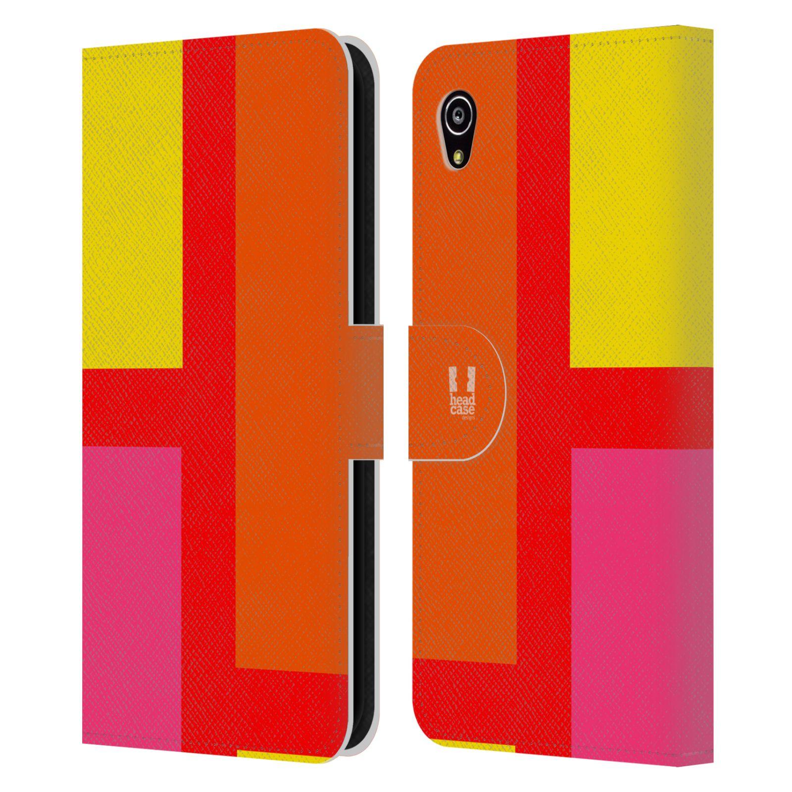 HEAD CASE Flipové pouzdro pro mobil SONY Xperia M4 Aqua barevné tvary oranžová ulice