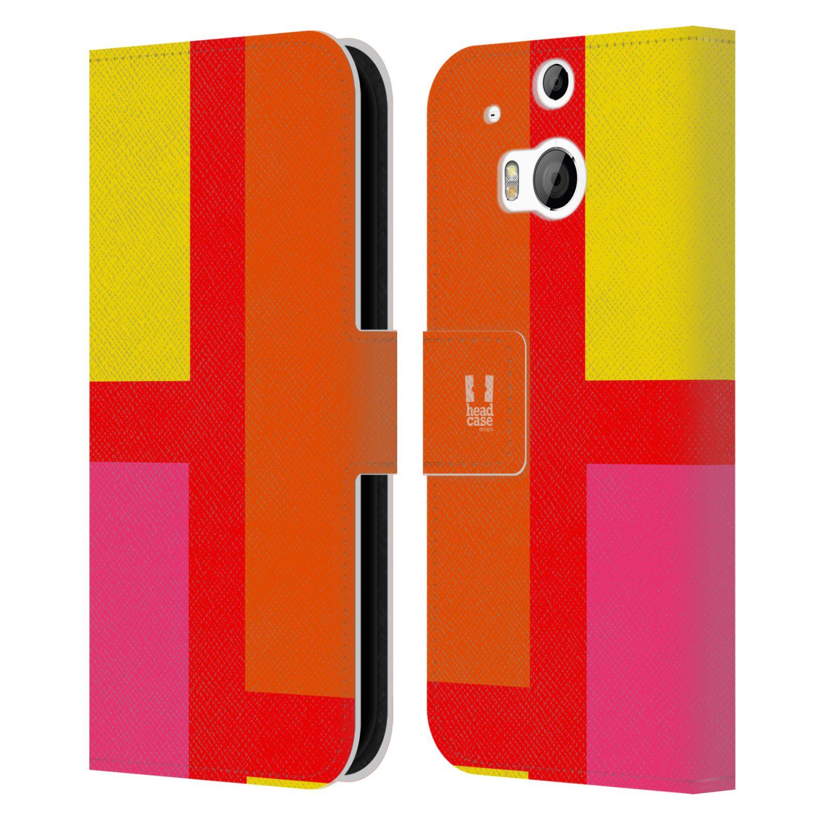 HEAD CASE Flipové pouzdro pro mobil HTC ONE M8/M8s barevné tvary oranžová ulice