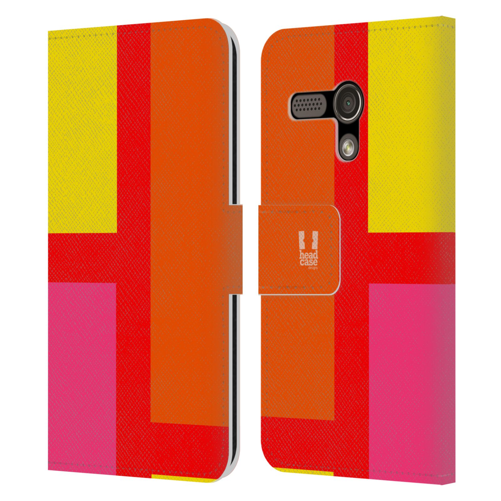 HEAD CASE Flipové pouzdro pro mobil Motorola MOTO G barevné tvary oranžová ulice