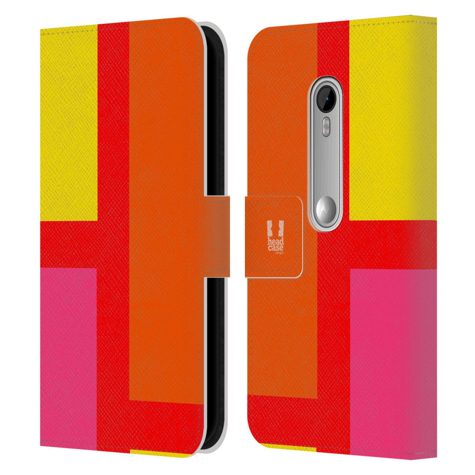 HEAD CASE Flipové pouzdro pro mobil Motorola MOTO G 3RD GENERATION barevné tvary oranžová ulice
