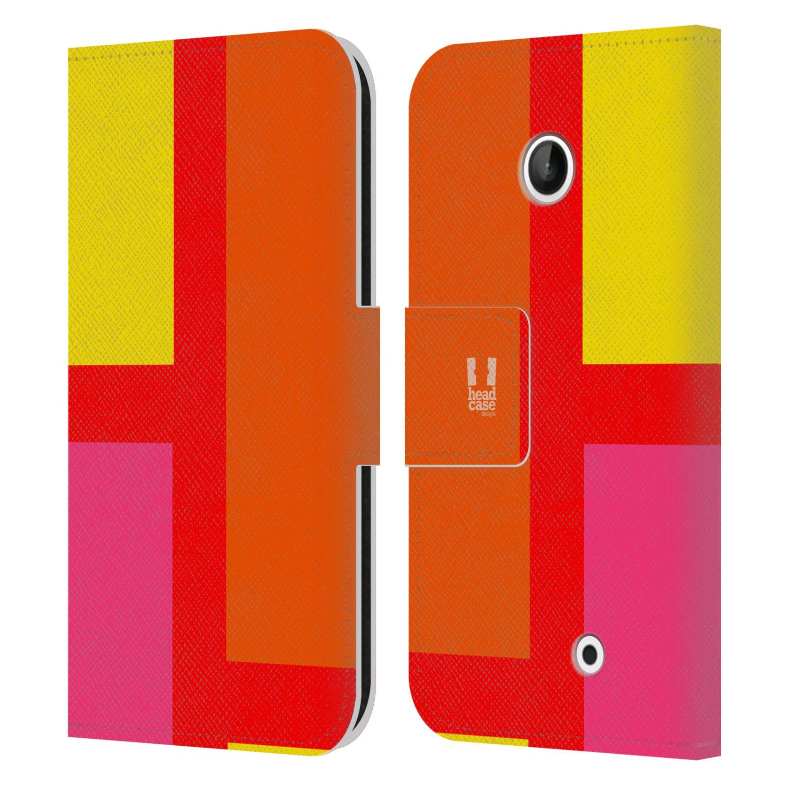 HEAD CASE Flipové pouzdro pro mobil Nokia LUMIA 630/630 DUAL barevné tvary oranžová ulice