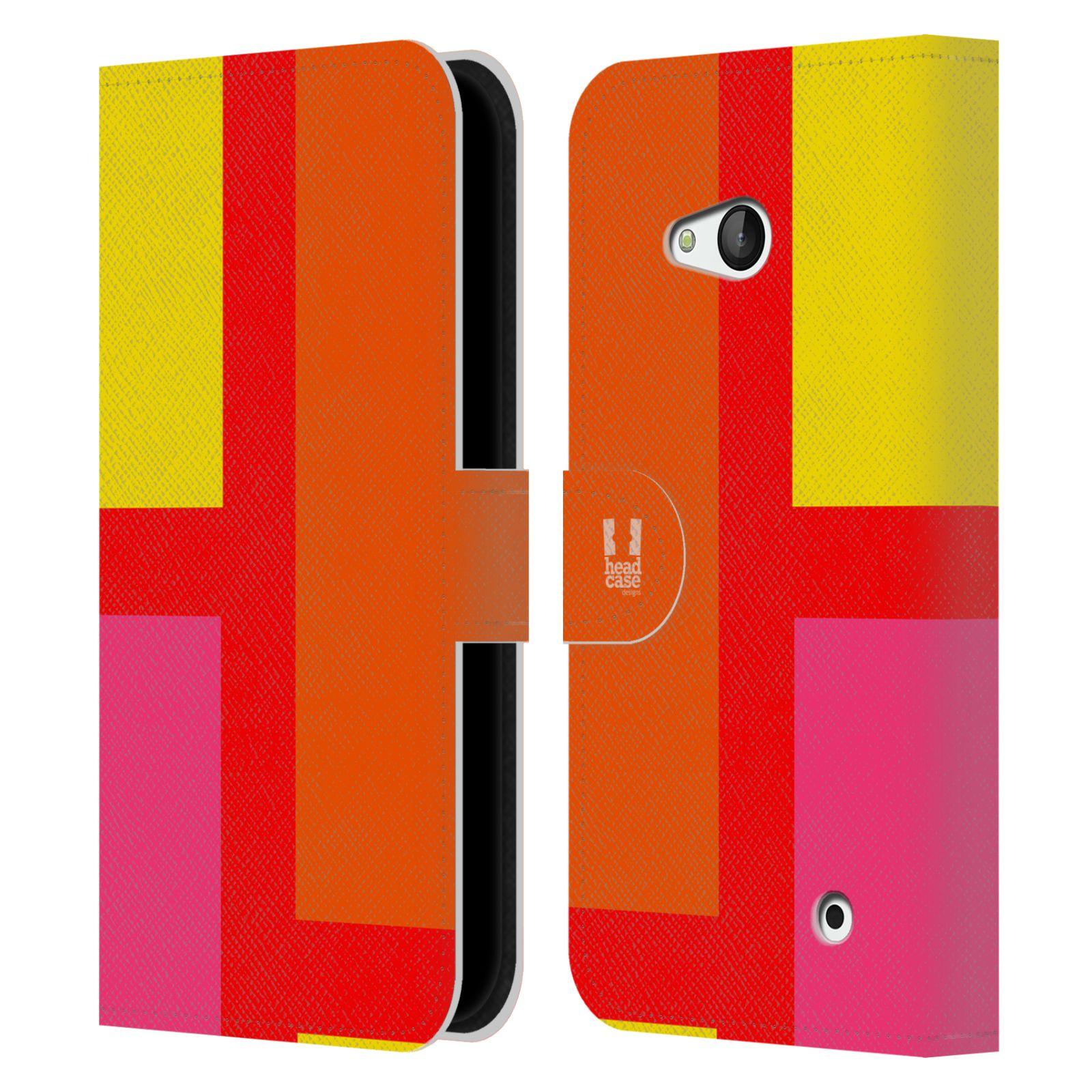 HEAD CASE Flipové pouzdro pro mobil Nokia LUMIA 640 barevné tvary oranžová ulice