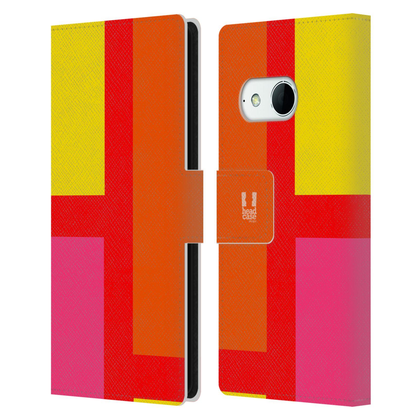 HEAD CASE Flipové pouzdro pro mobil HTC ONE MINI 2 barevné tvary oranžová ulice