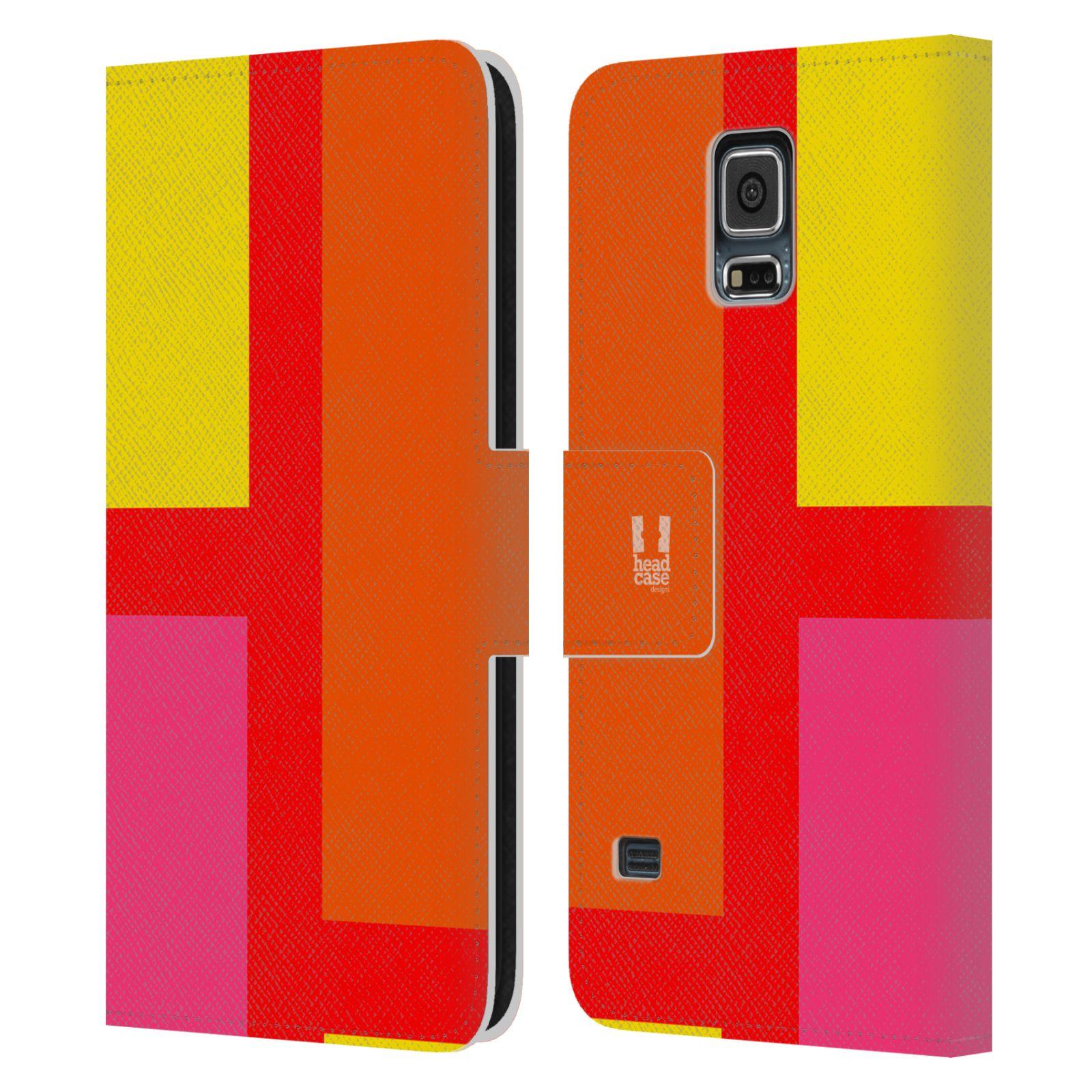 HEAD CASE Flipové pouzdro pro mobil Samsung Galaxy S5 barevné tvary oranžová ulice