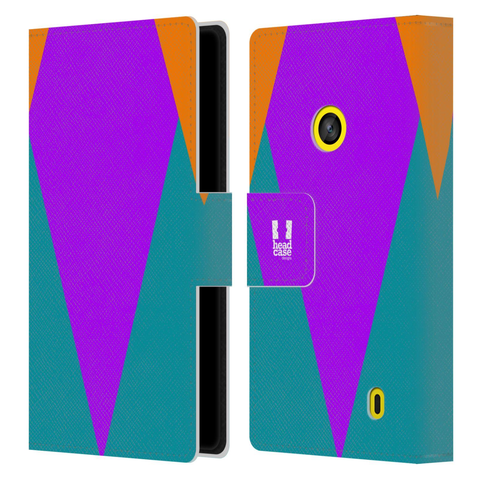 HEAD CASE Flipové pouzdro pro mobil Nokia LUMIA 520/525 barevné tvary šipka fialová