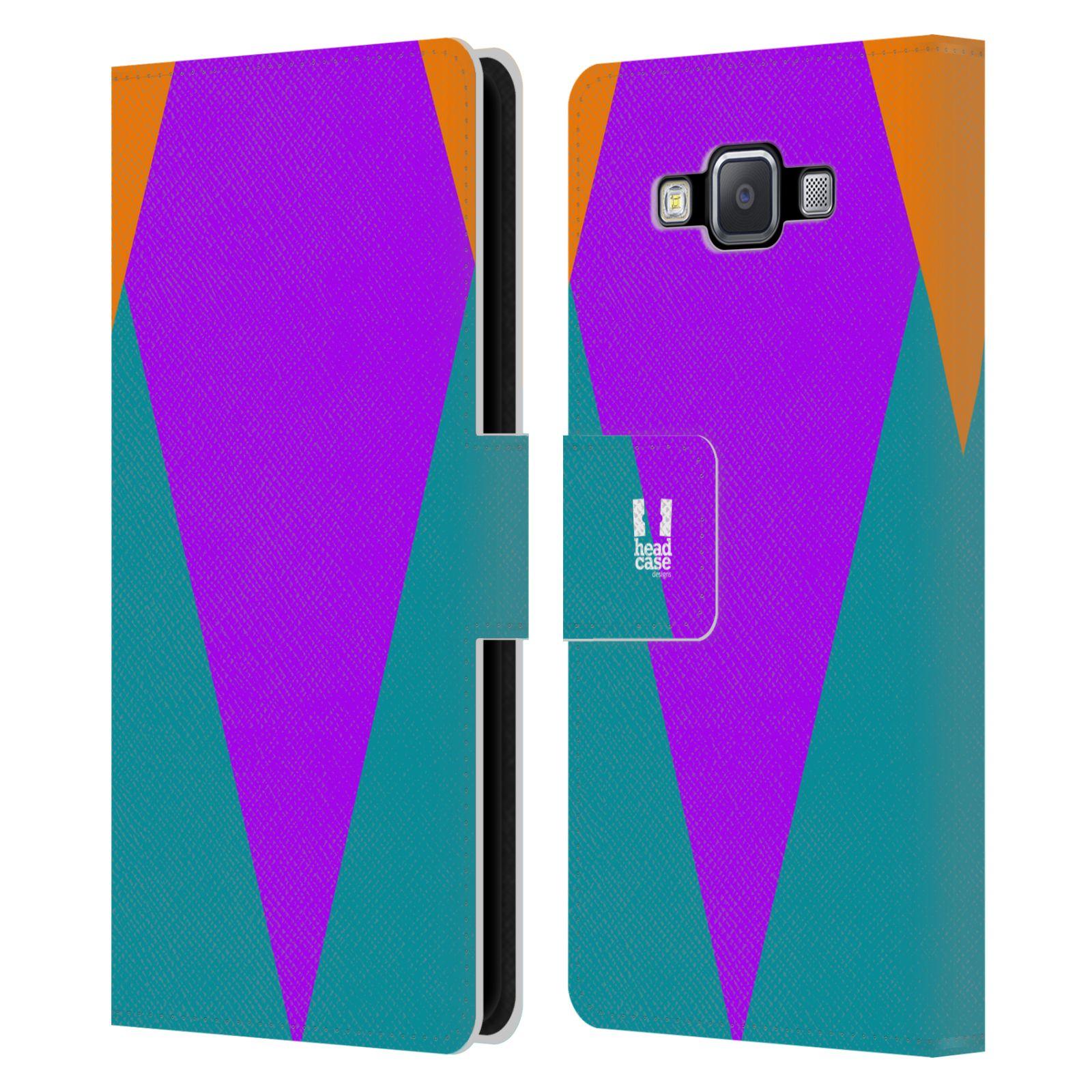 HEAD CASE Flipové pouzdro pro mobil Samsung Galaxy A5 barevné tvary šipka fialová