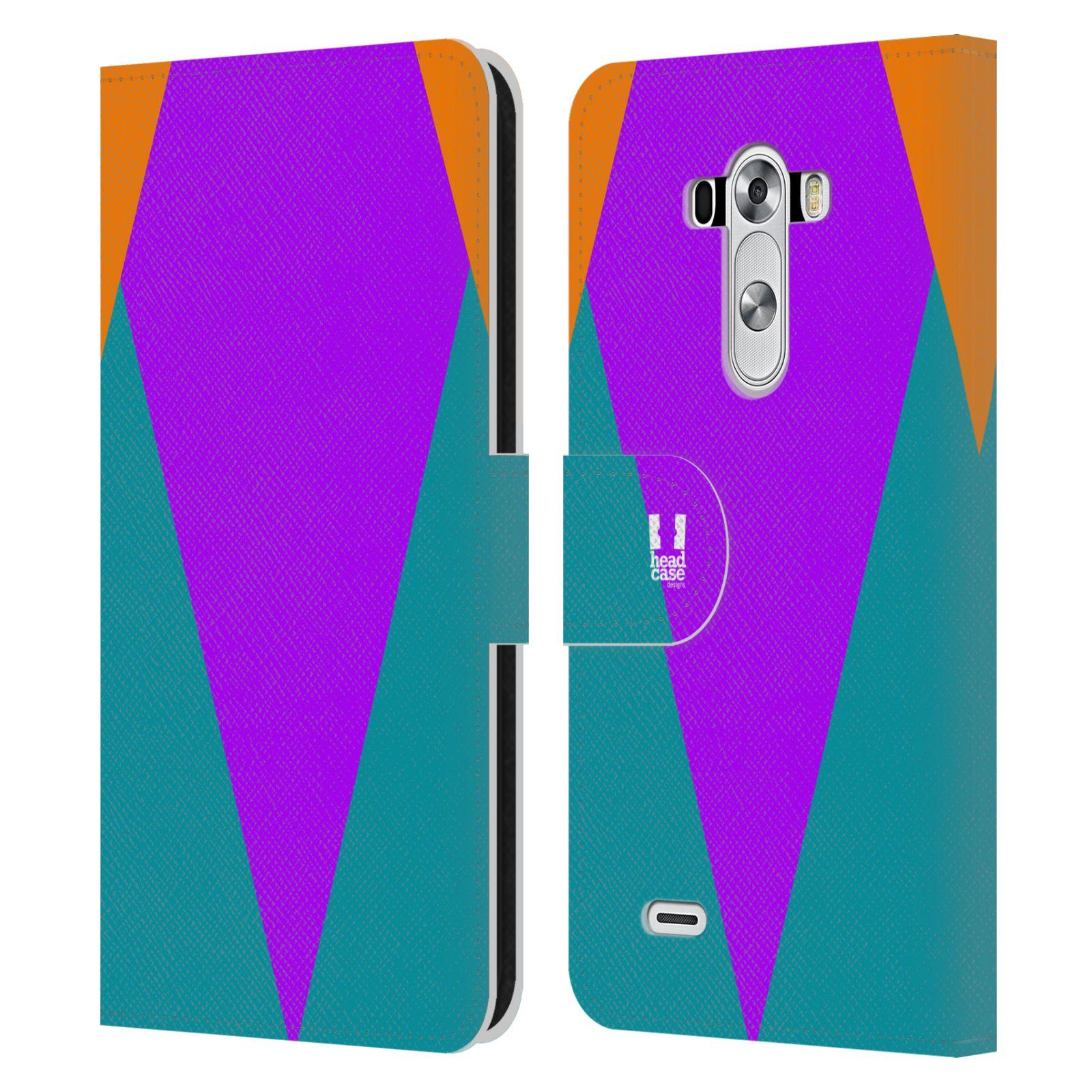 HEAD CASE Flipové pouzdro pro mobil LG G3 barevné tvary šipka fialová