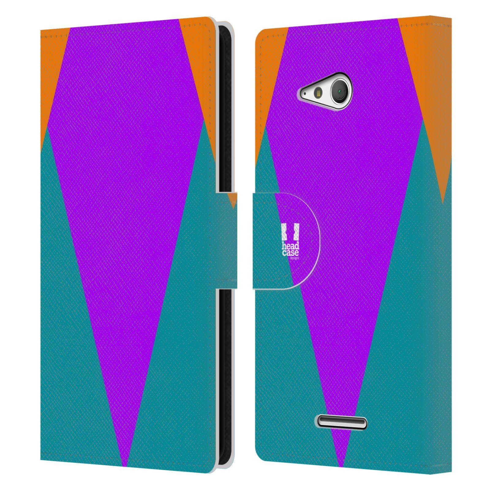HEAD CASE Flipové pouzdro pro mobil SONY Xperia E4g barevné tvary šipka fialová
