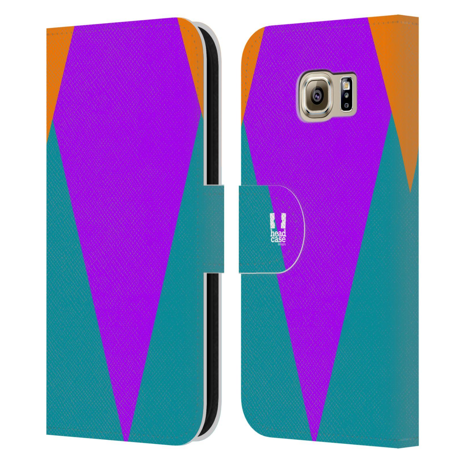 HEAD CASE Flipové pouzdro pro mobil Samsung Galaxy S6 barevné tvary šipka fialová