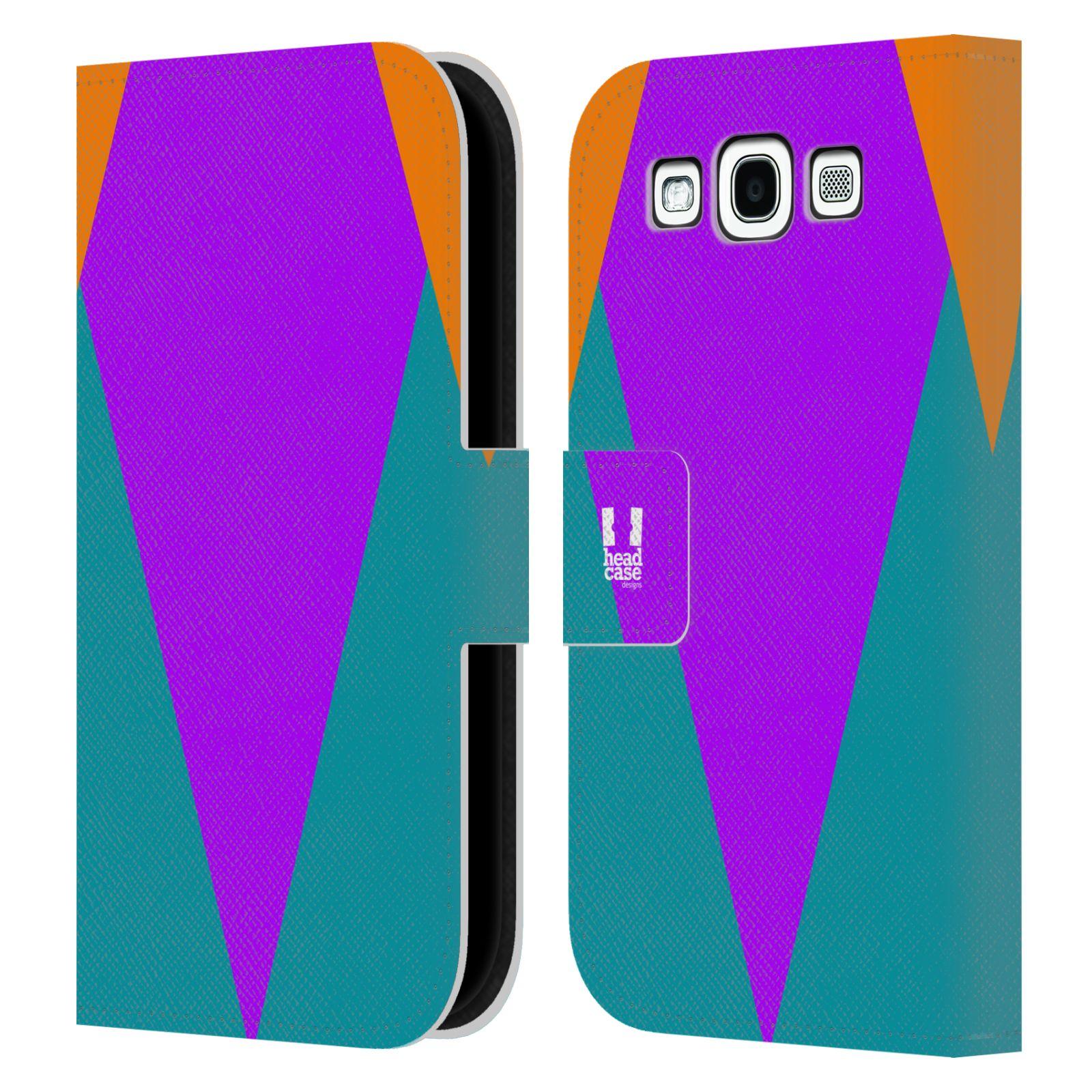 HEAD CASE Flipové pouzdro pro mobil Samsung Galaxy S3 I9300 barevné tvary šipka fialová