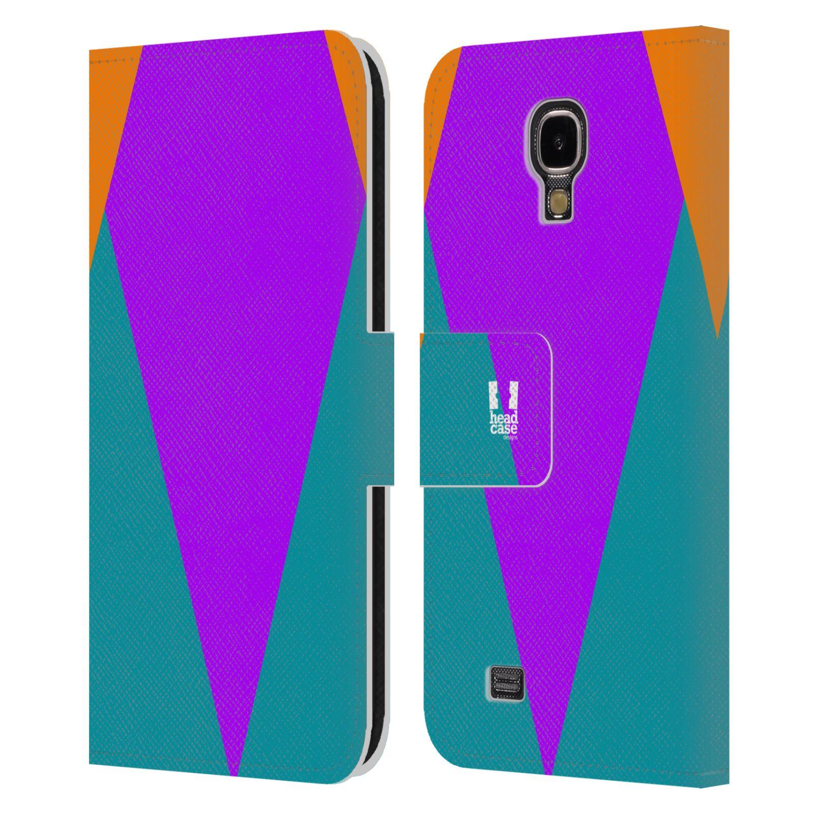 HEAD CASE Flipové pouzdro pro mobil Samsung Galaxy S4 I9500 barevné tvary šipka fialová