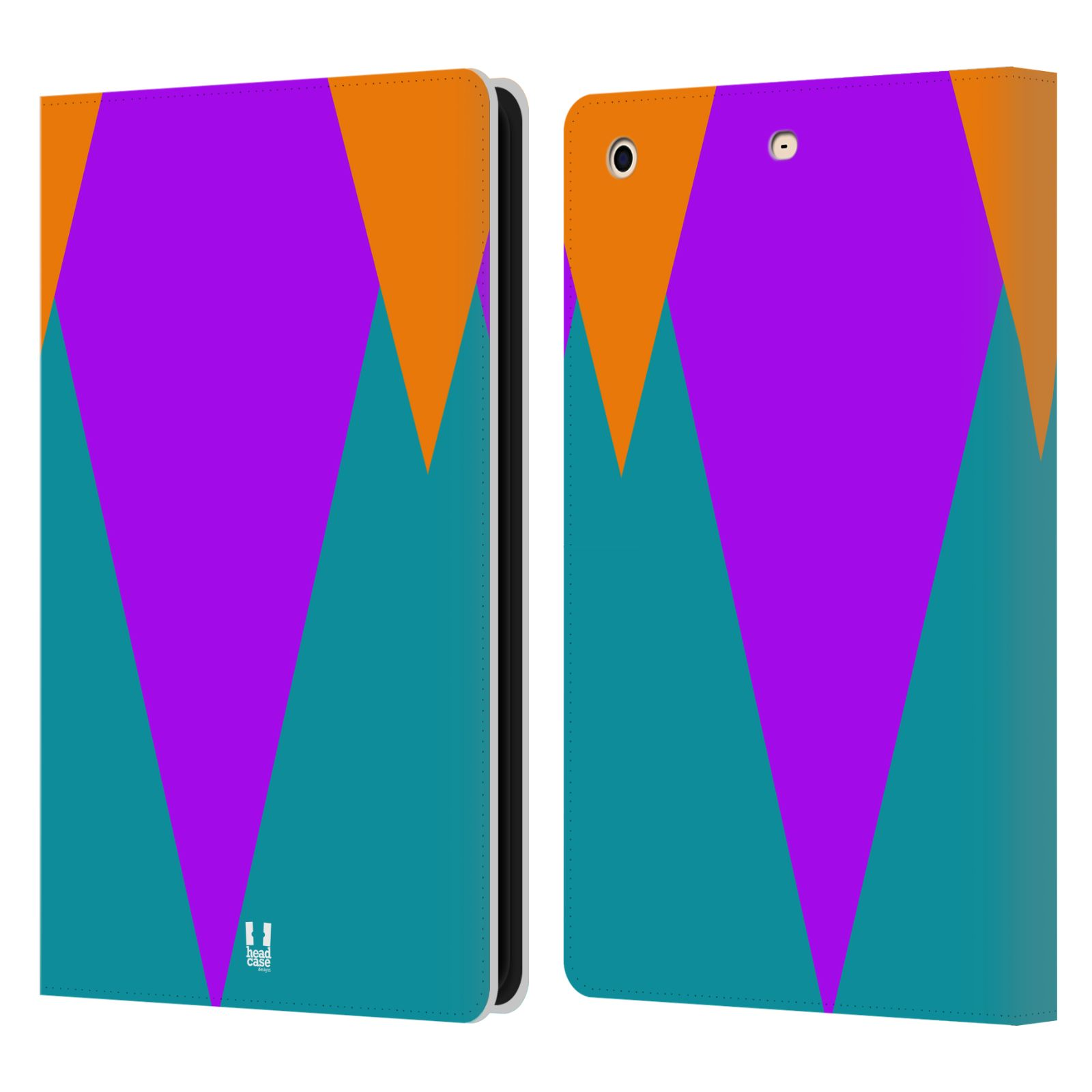 HEAD CASE Flipové pouzdro pro tablet Apple iPad mini barevné tvary šipka fialová