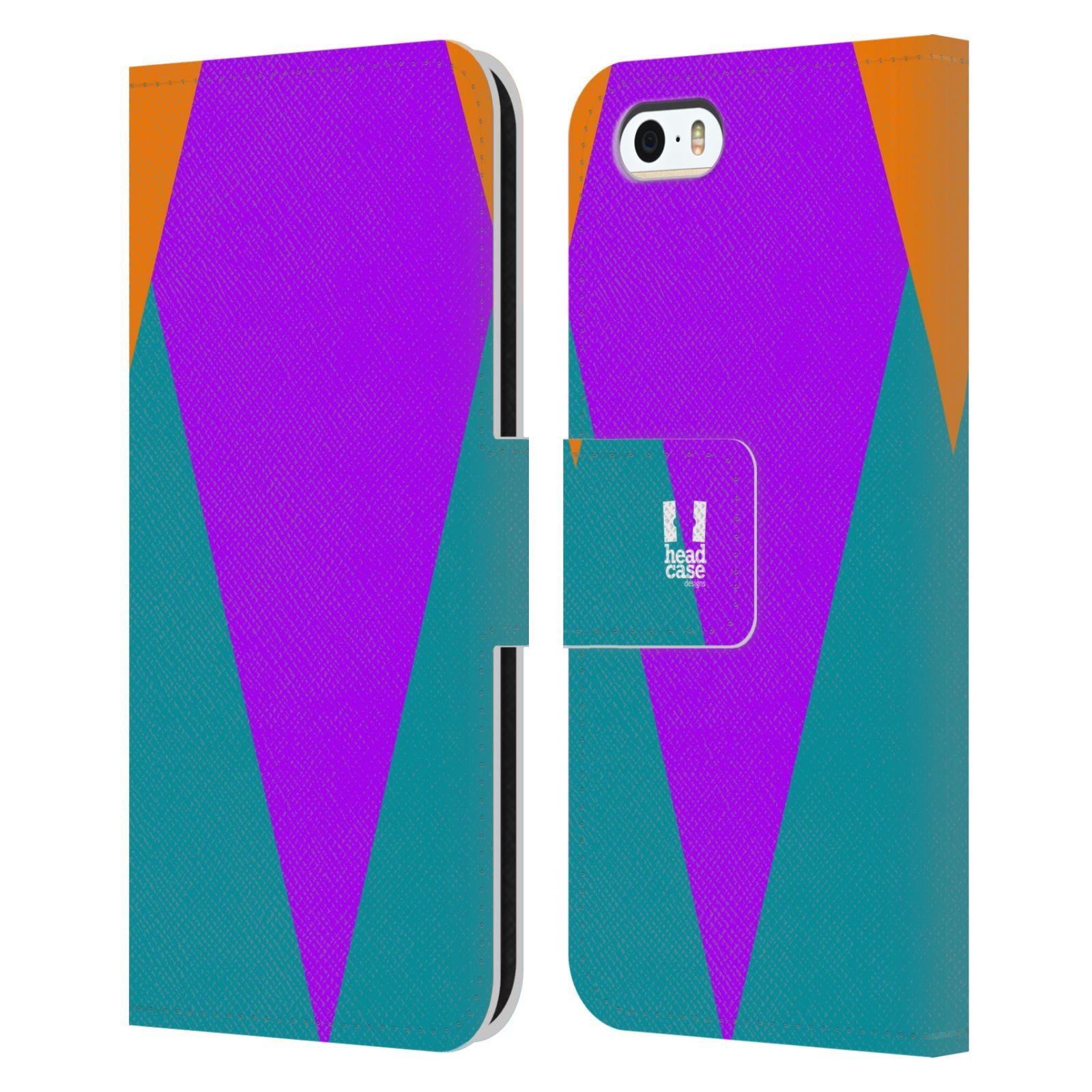 HEAD CASE Flipové pouzdro pro mobil Apple Iphone 5/5S barevné tvary šipka fialová