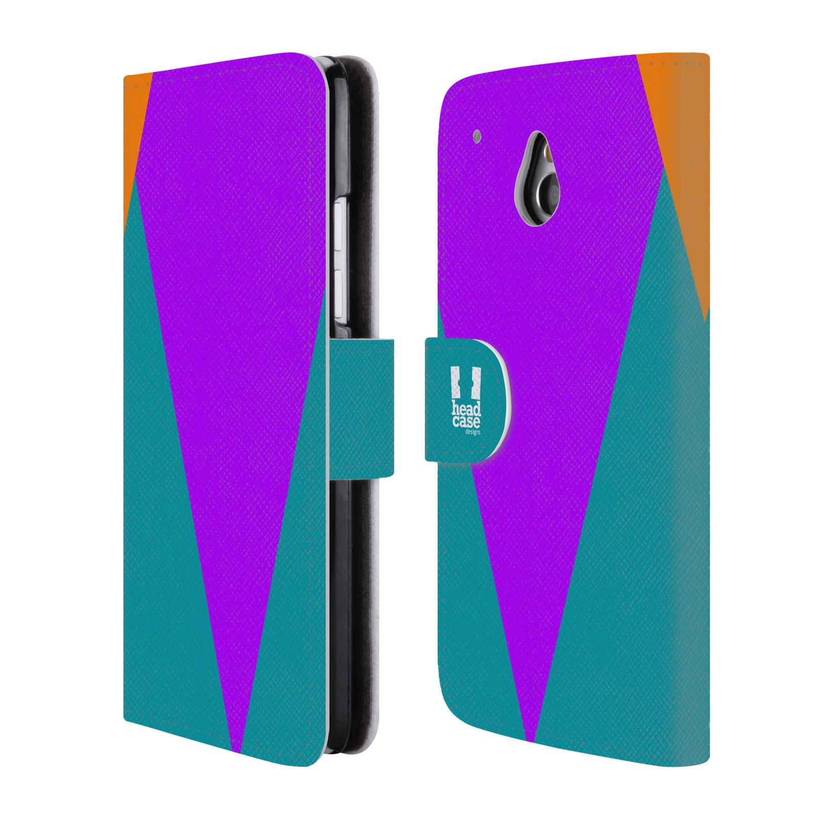 HEAD CASE Flipové pouzdro pro mobil HTC ONE MINI barevné tvary šipka fialová