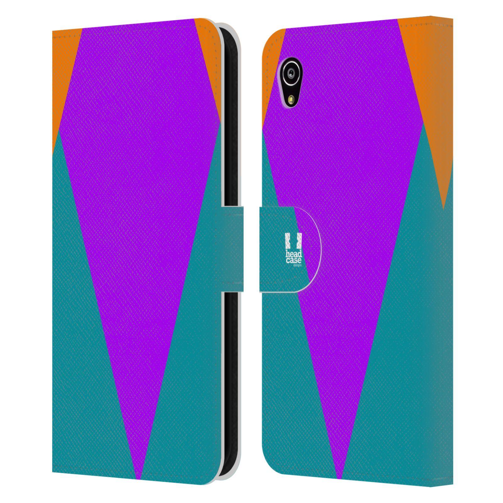 HEAD CASE Flipové pouzdro pro mobil SONY Xperia M4 Aqua barevné tvary šipka fialová