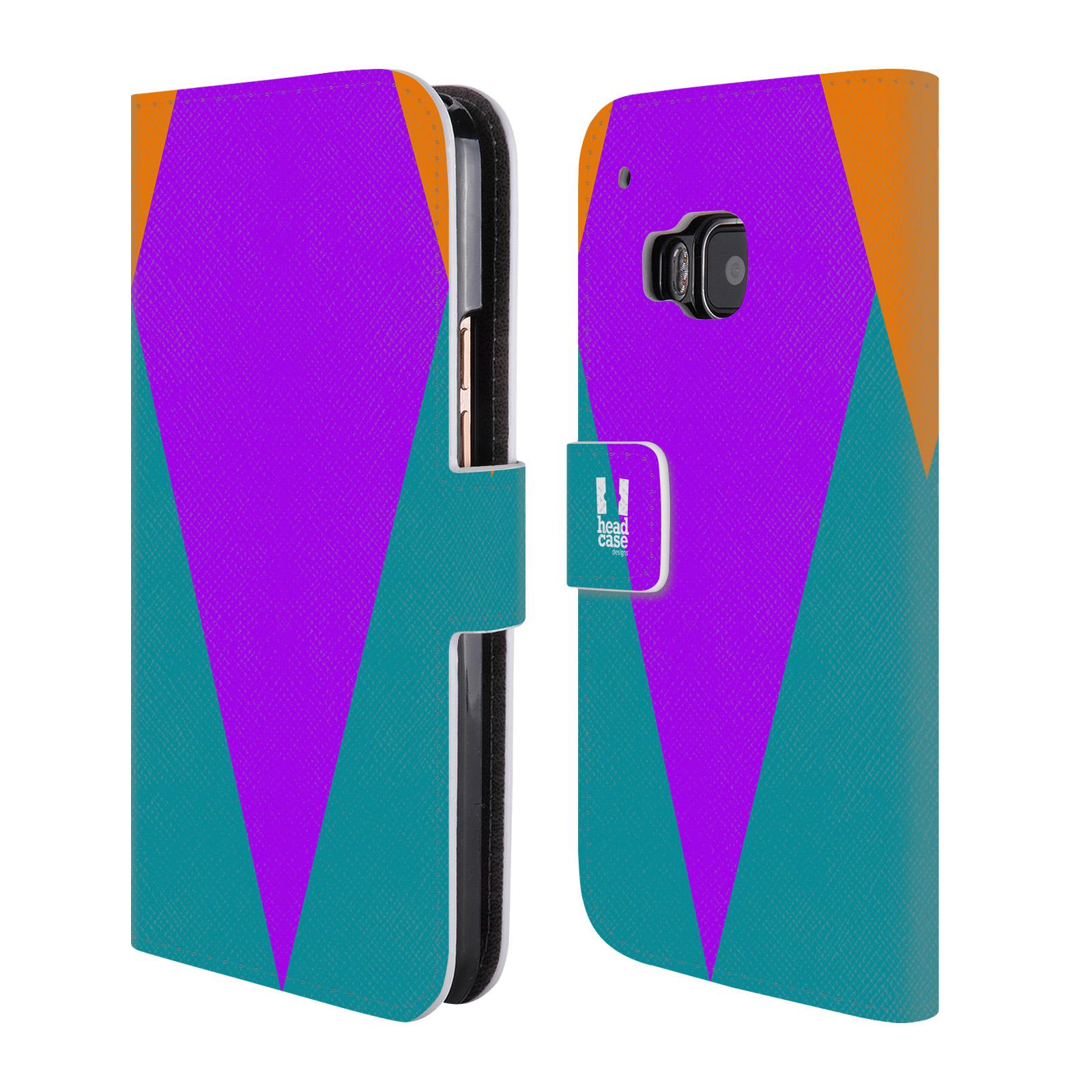 HEAD CASE Flipové pouzdro pro mobil HTC ONE M9 barevné tvary šipka fialová