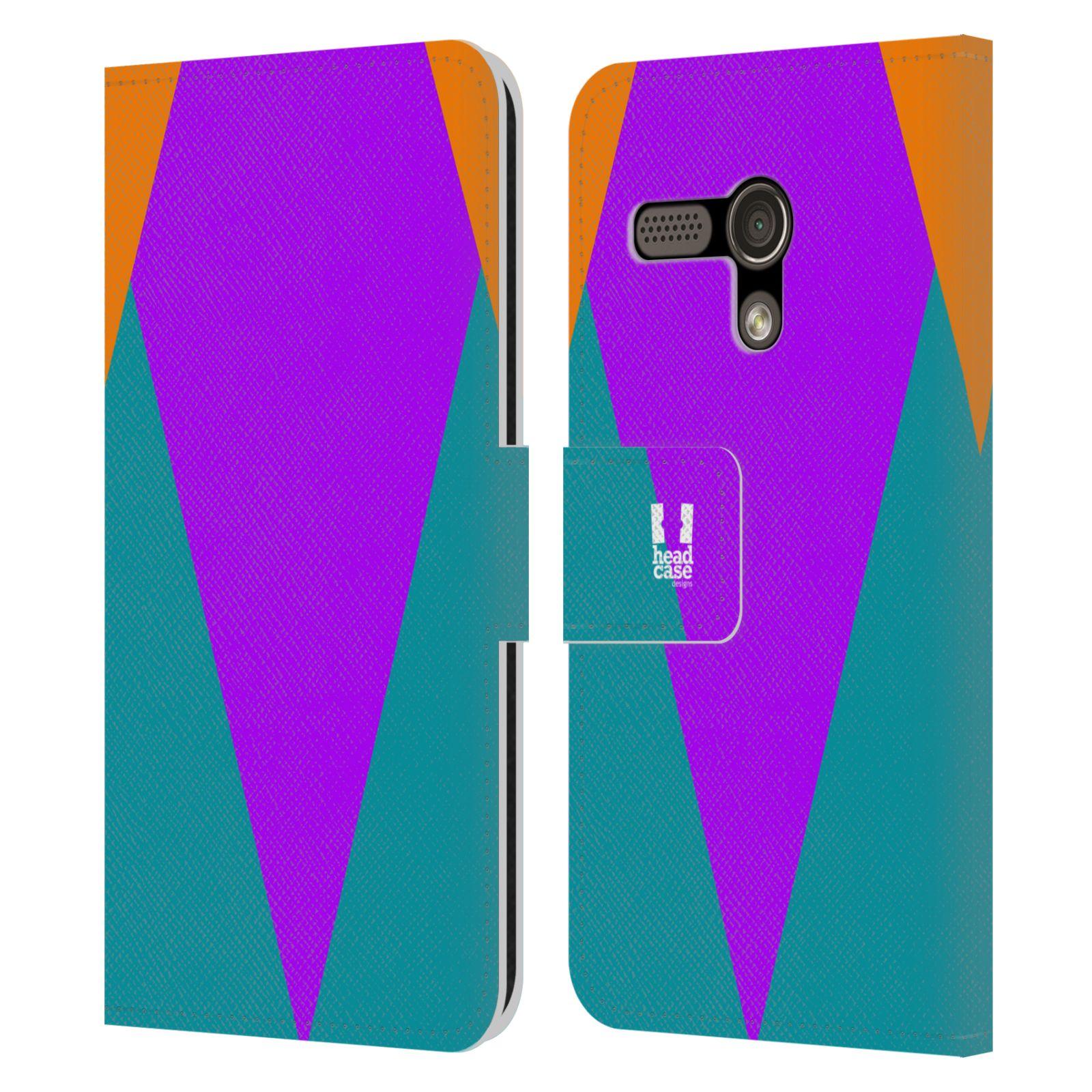 HEAD CASE Flipové pouzdro pro mobil Motorola MOTO G barevné tvary šipka fialová