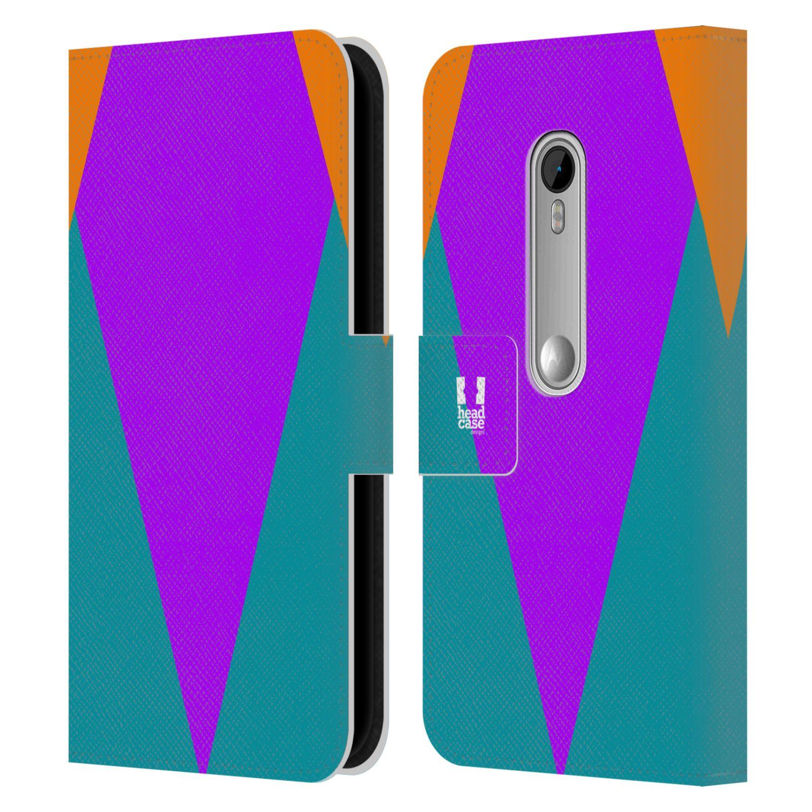 HEAD CASE Flipové pouzdro pro mobil Motorola MOTO G 3RD GENERATION barevné tvary šipka fialová