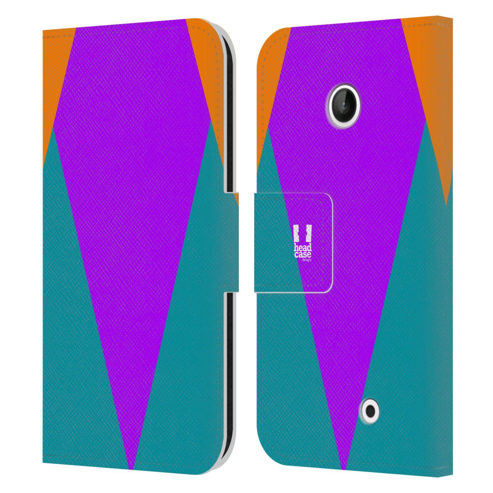 HEAD CASE Flipové pouzdro pro mobil Nokia LUMIA 630/630 DUAL barevné tvary šipka fialová