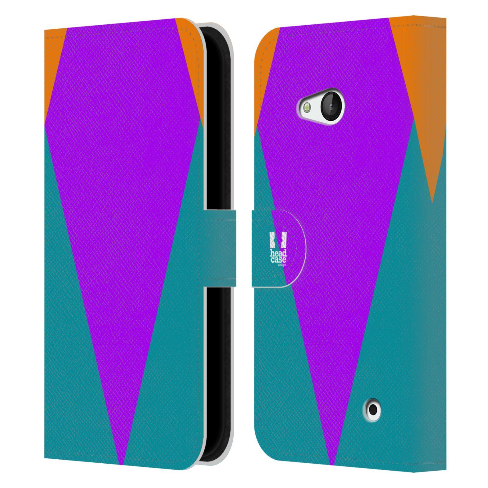 HEAD CASE Flipové pouzdro pro mobil Nokia LUMIA 640 barevné tvary šipka fialová