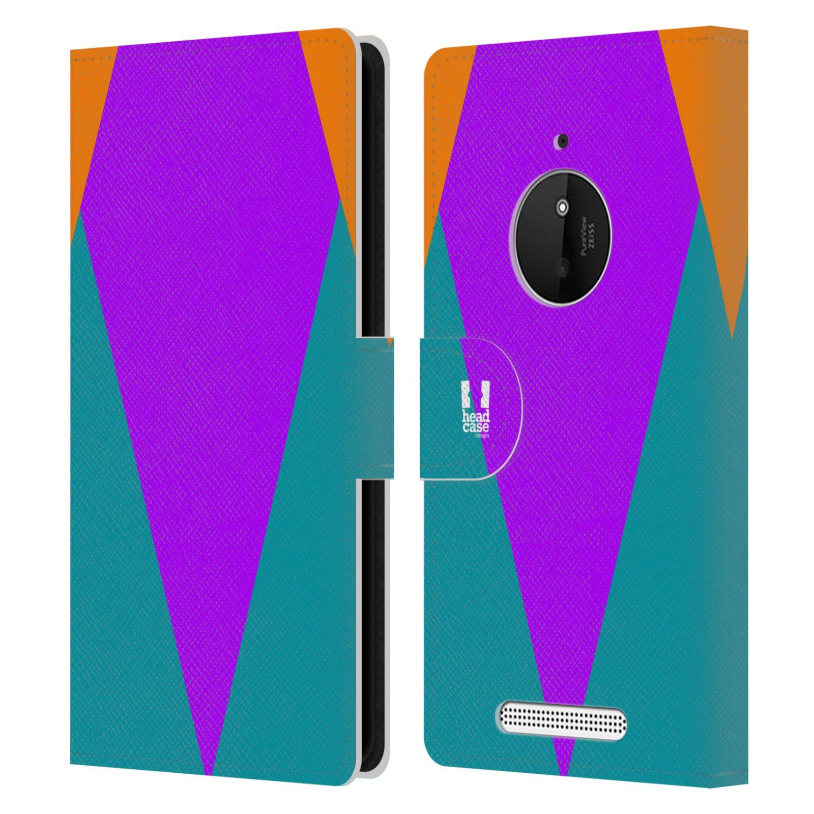 HEAD CASE Flipové pouzdro pro mobil Nokia LUMIA 830 barevné tvary šipka fialová
