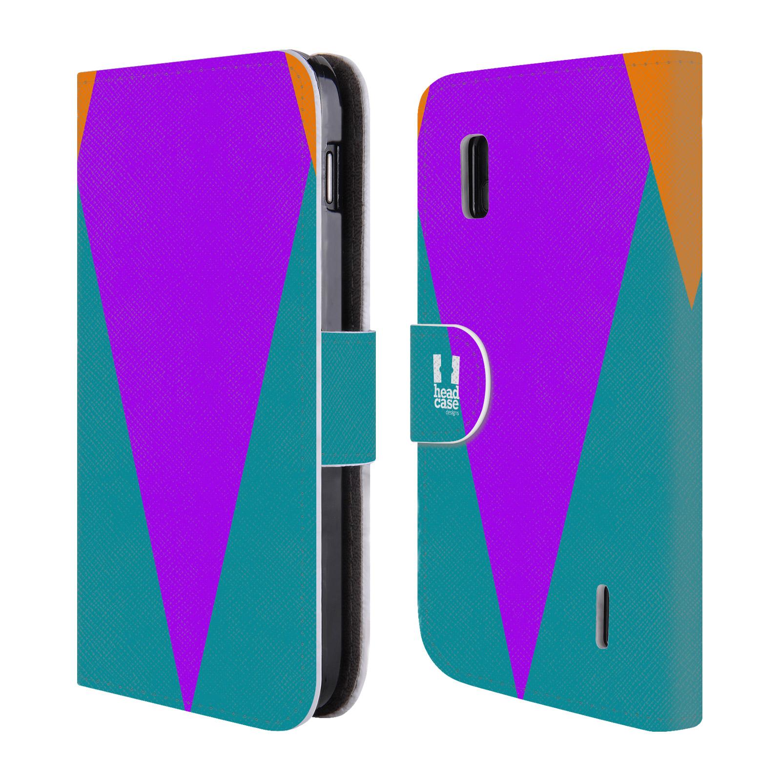 HEAD CASE Flipové pouzdro pro mobil LG NEXUS 4 barevné tvary šipka fialová