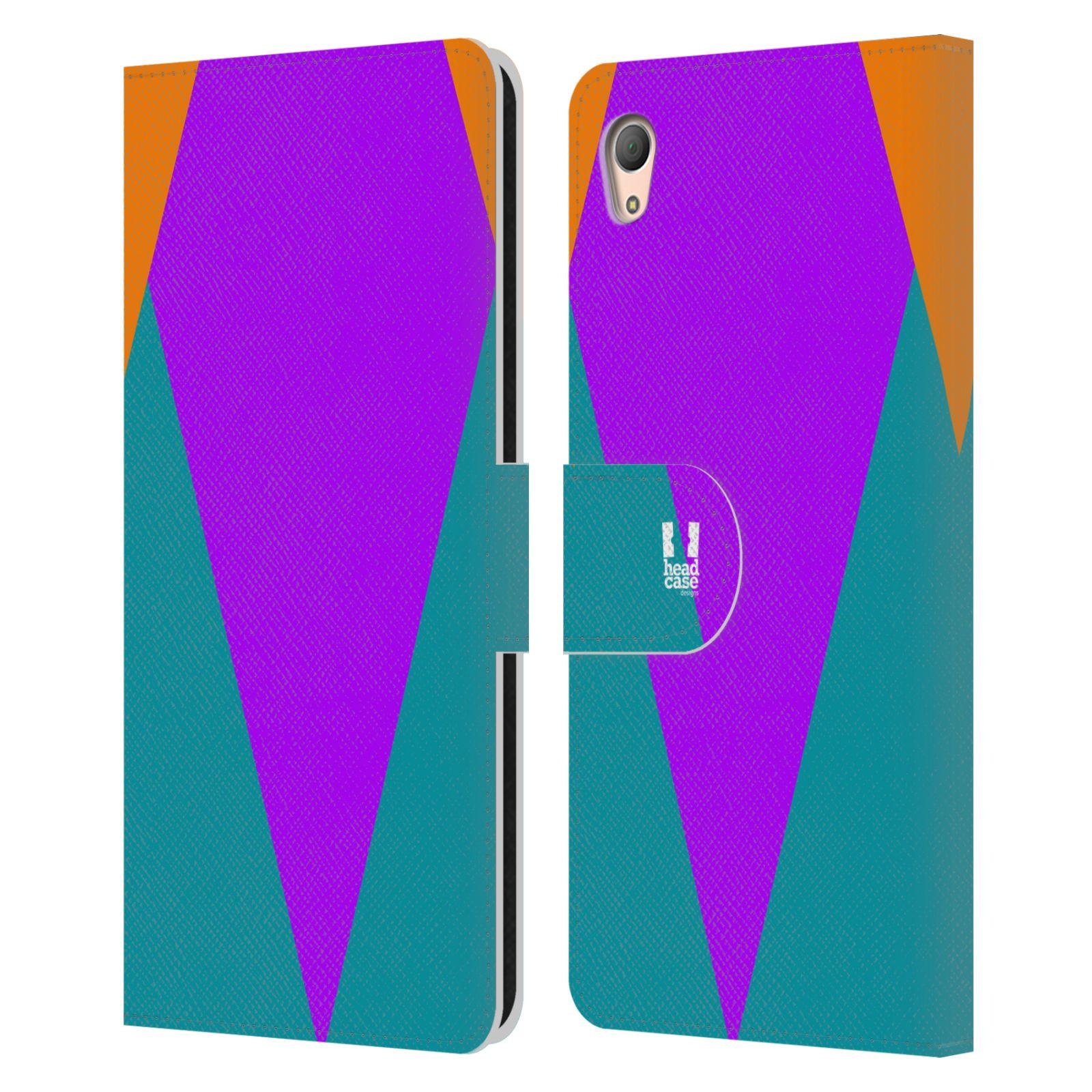 HEAD CASE Flipové pouzdro pro mobil SONY XPERIA Z3+(Z3 PLUS) barevné tvary šipka fialová