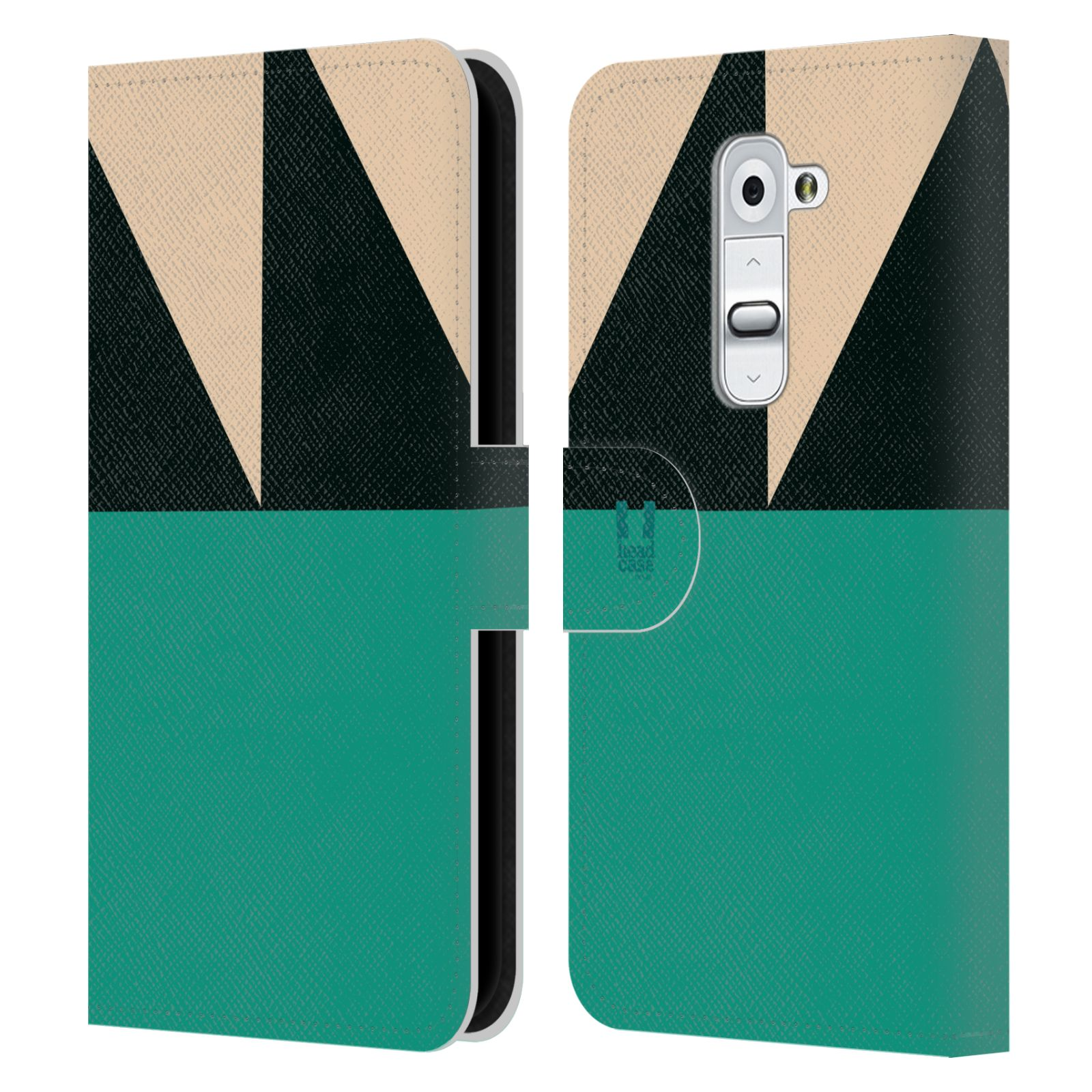 HEAD CASE Flipové pouzdro pro mobil LG G2 barevné tvary moře modrá