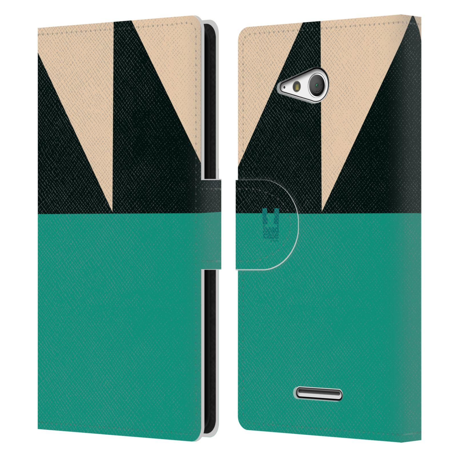 HEAD CASE Flipové pouzdro pro mobil SONY Xperia E4g barevné tvary moře modrá