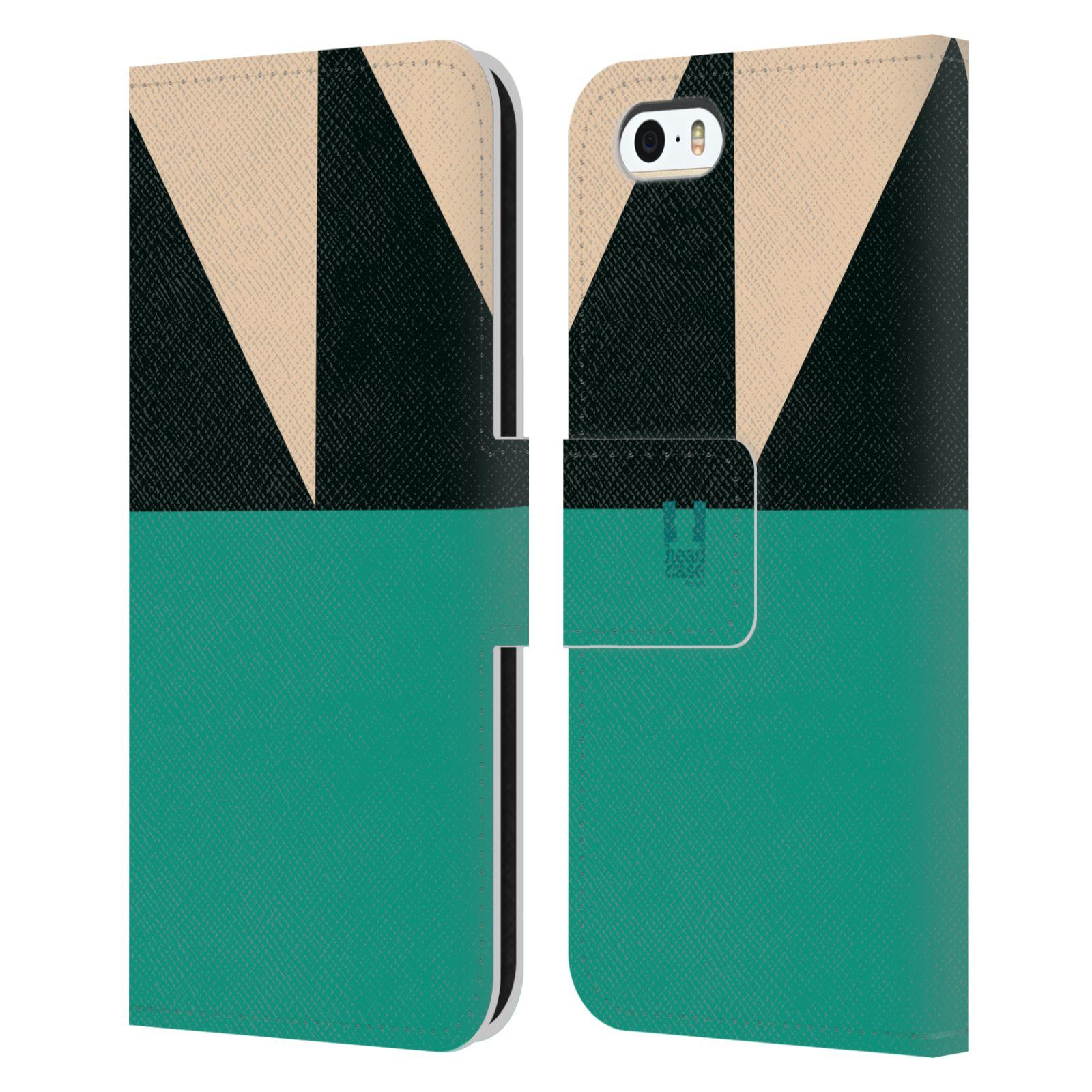 HEAD CASE Flipové pouzdro pro mobil Apple Iphone 5/5S barevné tvary moře modrá