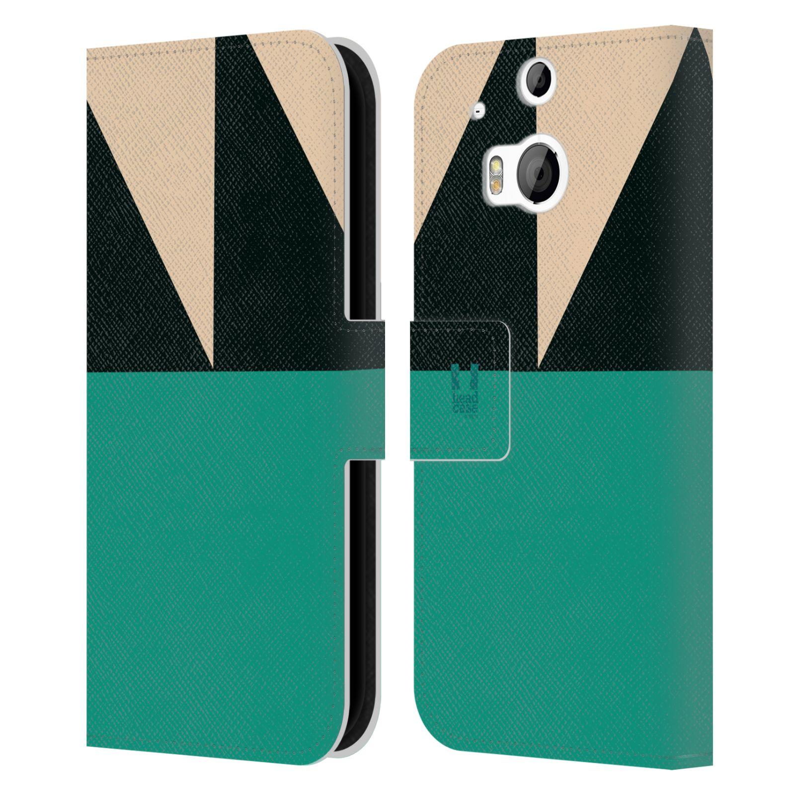 HEAD CASE Flipové pouzdro pro mobil HTC ONE M8/M8s barevné tvary moře modrá