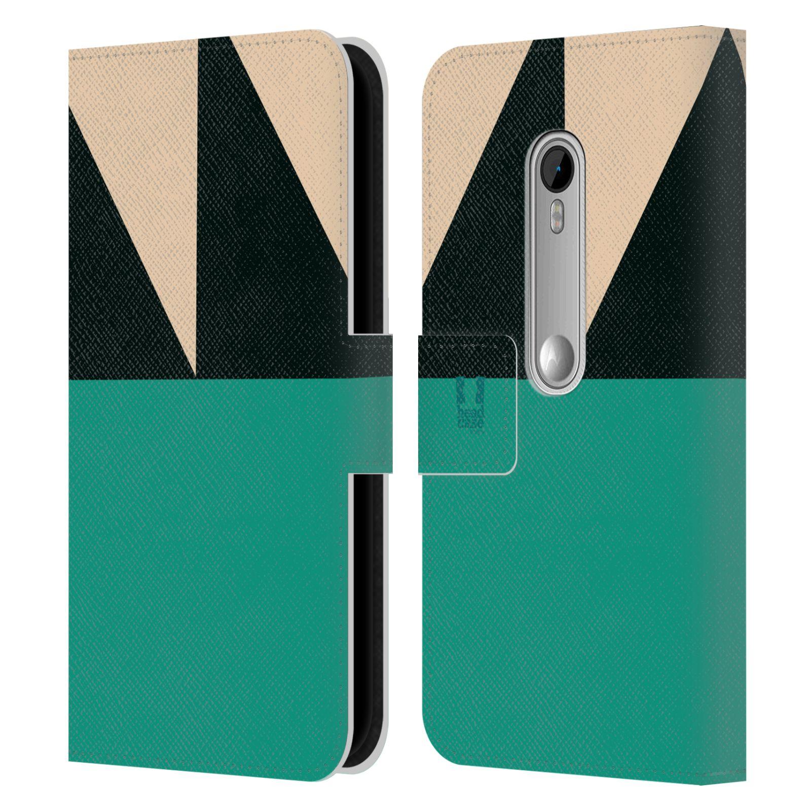 HEAD CASE Flipové pouzdro pro mobil Motorola MOTO G 3RD GENERATION barevné tvary moře modrá