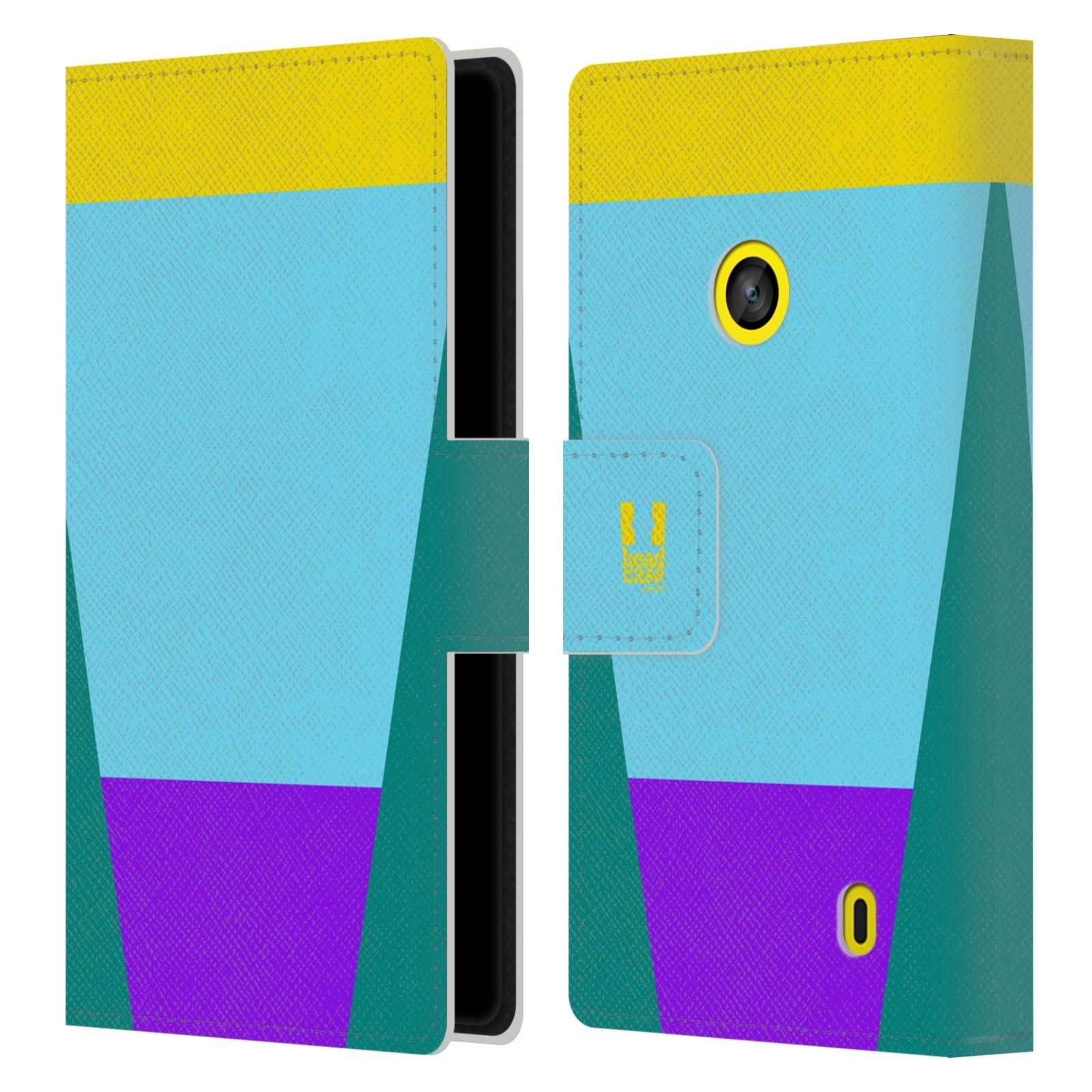 HEAD CASE Flipové pouzdro pro mobil Nokia LUMIA 520/525 barevné tvary nebesky modrá