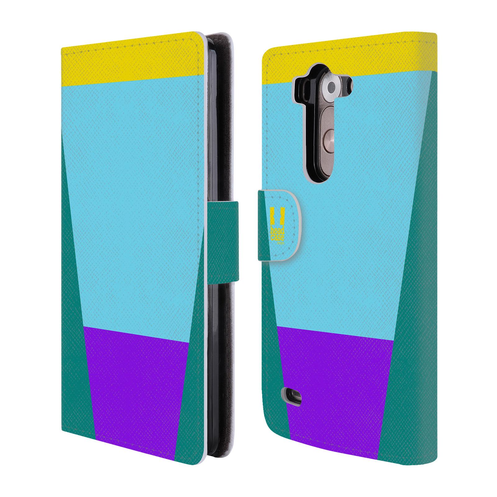 HEAD CASE Flipové pouzdro pro mobil LG G3s barevné tvary nebesky modrá