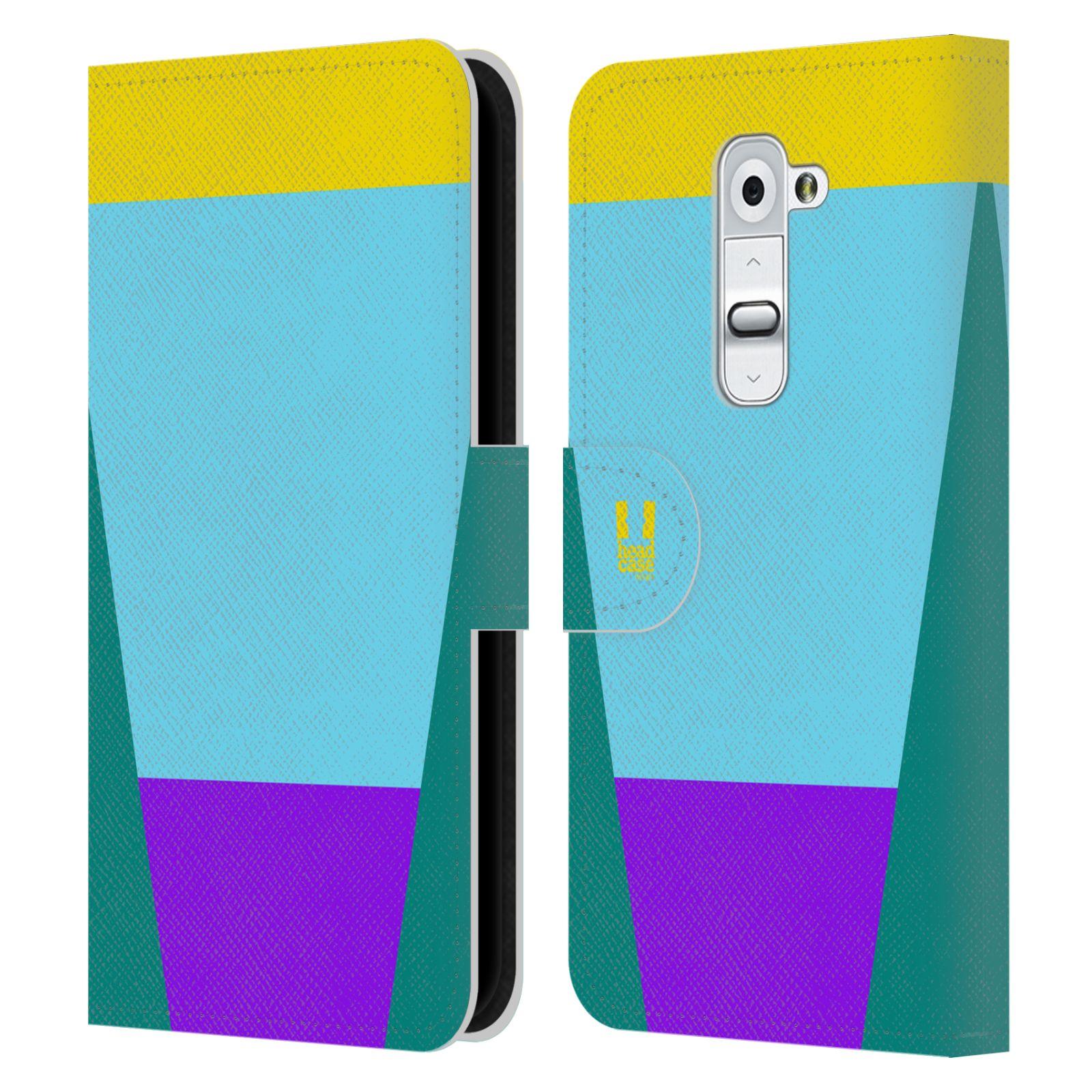 HEAD CASE Flipové pouzdro pro mobil LG G2 barevné tvary nebesky modrá