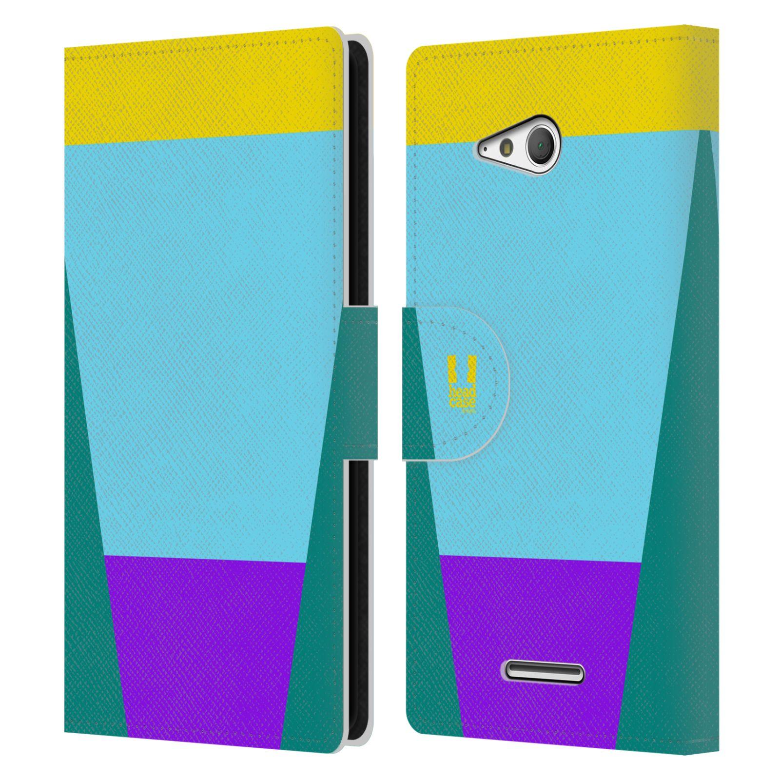 HEAD CASE Flipové pouzdro pro mobil SONY Xperia E4g barevné tvary nebesky modrá