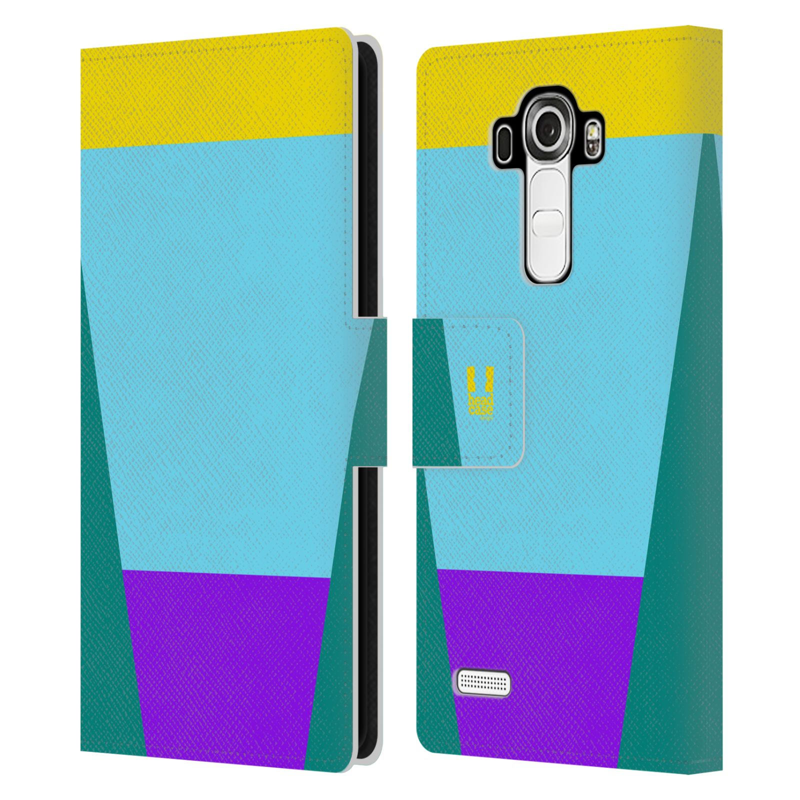 HEAD CASE Flipové pouzdro pro mobil LG G4 barevné tvary nebesky modrá