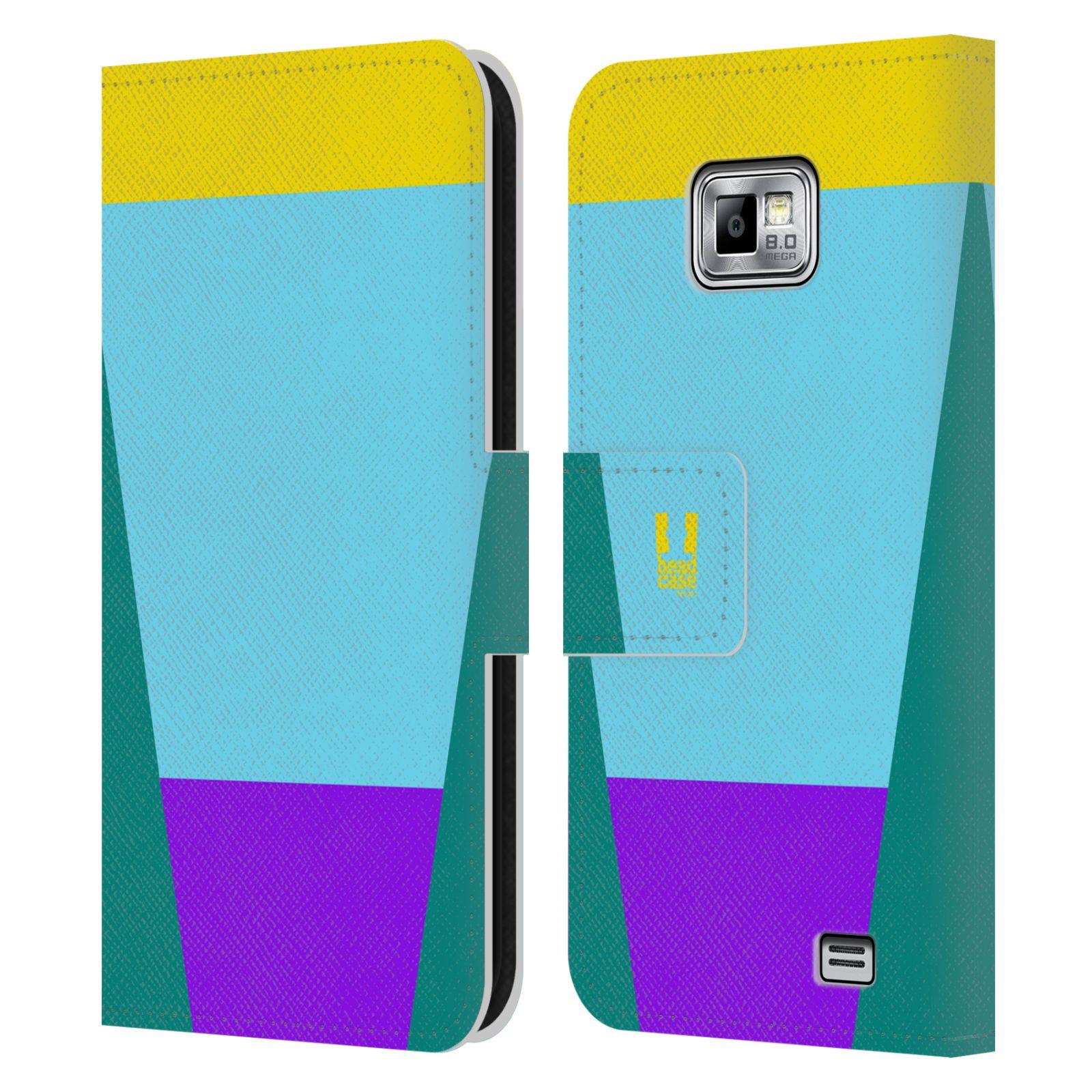 HEAD CASE Flipové pouzdro pro mobil Samsung Galaxy S2 i9100 barevné tvary nebesky modrá