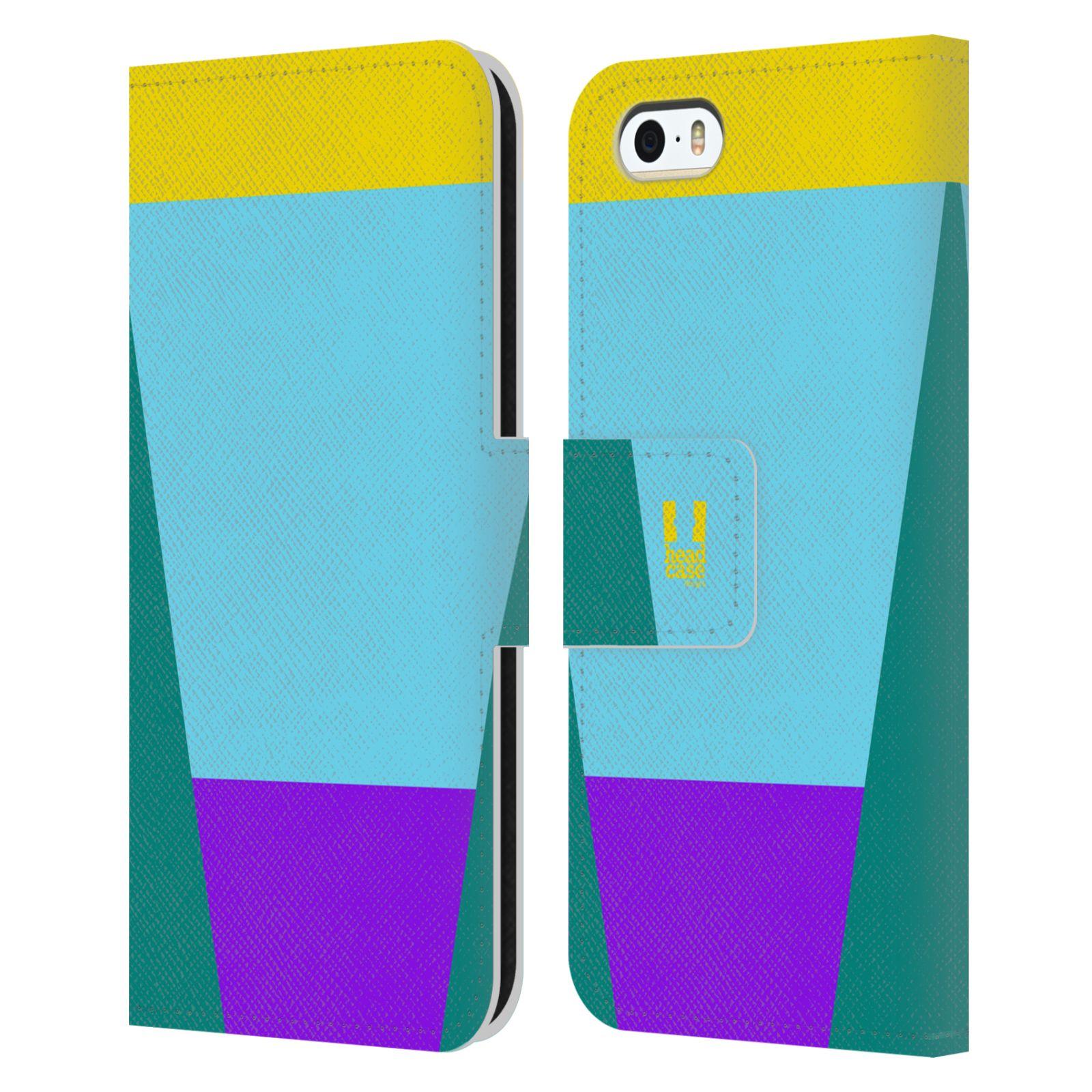 HEAD CASE Flipové pouzdro pro mobil Apple Iphone 5/5S barevné tvary nebesky modrá