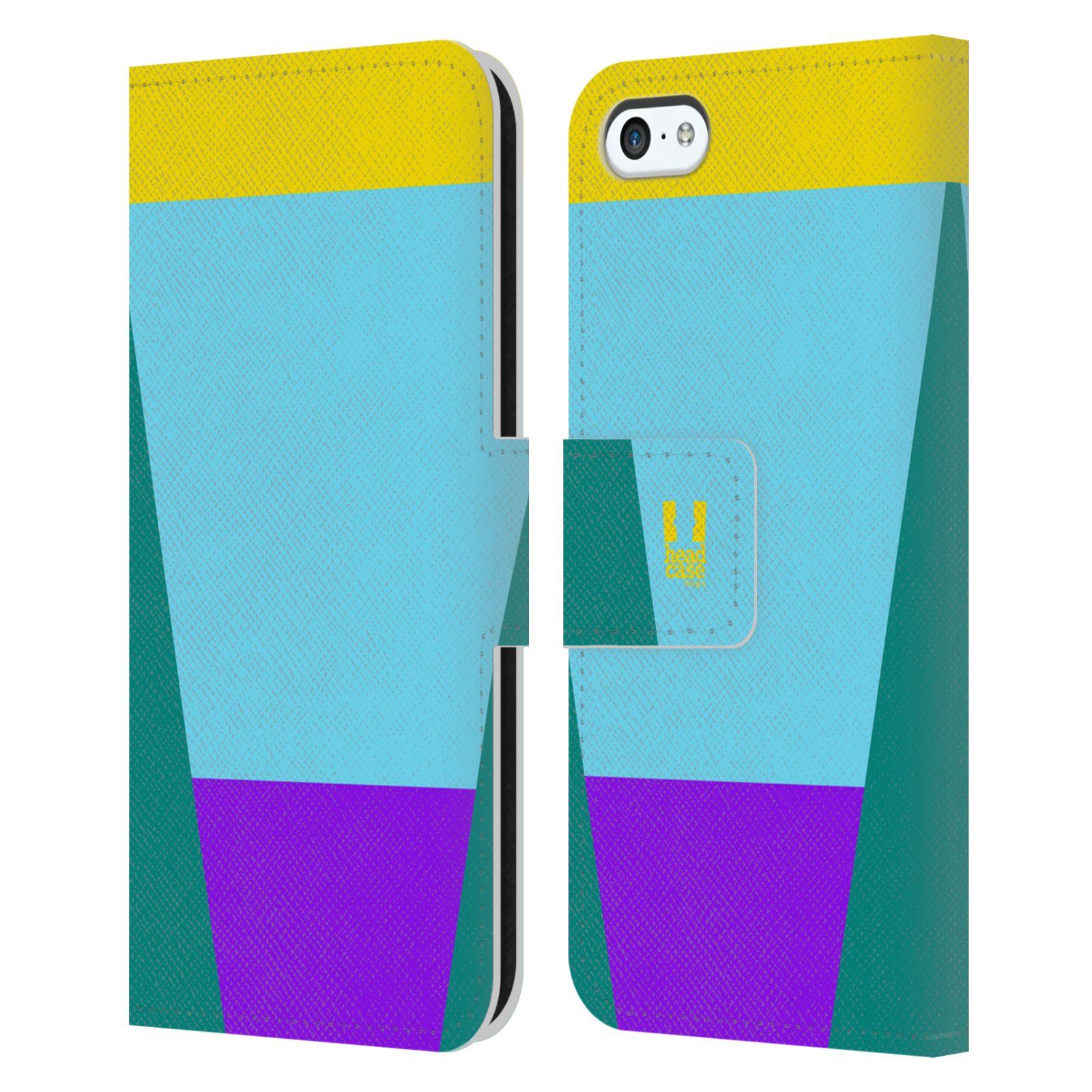 HEAD CASE Flipové pouzdro pro mobil Apple Iphone 5C barevné tvary nebesky modrá