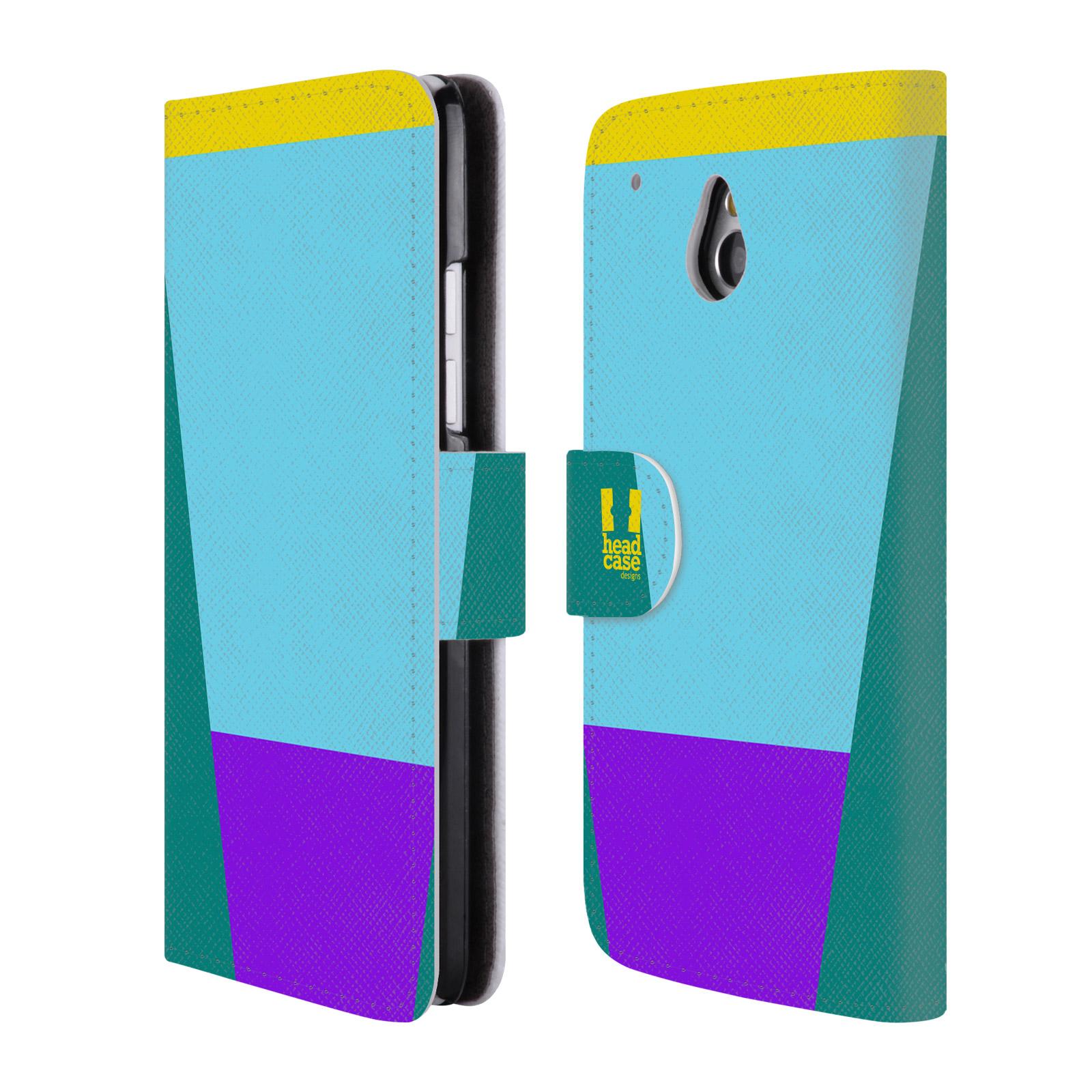 HEAD CASE Flipové pouzdro pro mobil HTC ONE MINI barevné tvary nebesky modrá