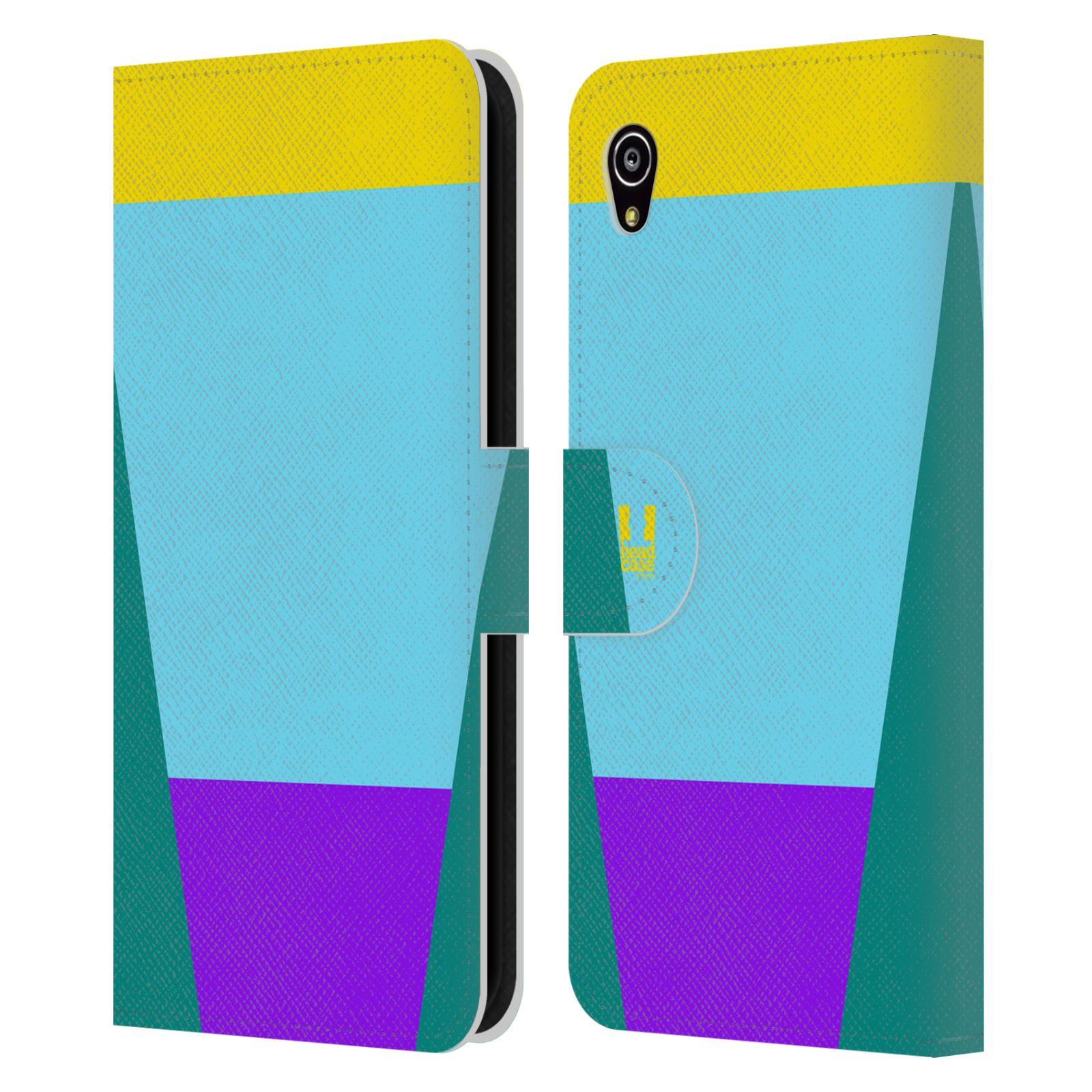 HEAD CASE Flipové pouzdro pro mobil SONY Xperia M4 Aqua barevné tvary nebesky modrá