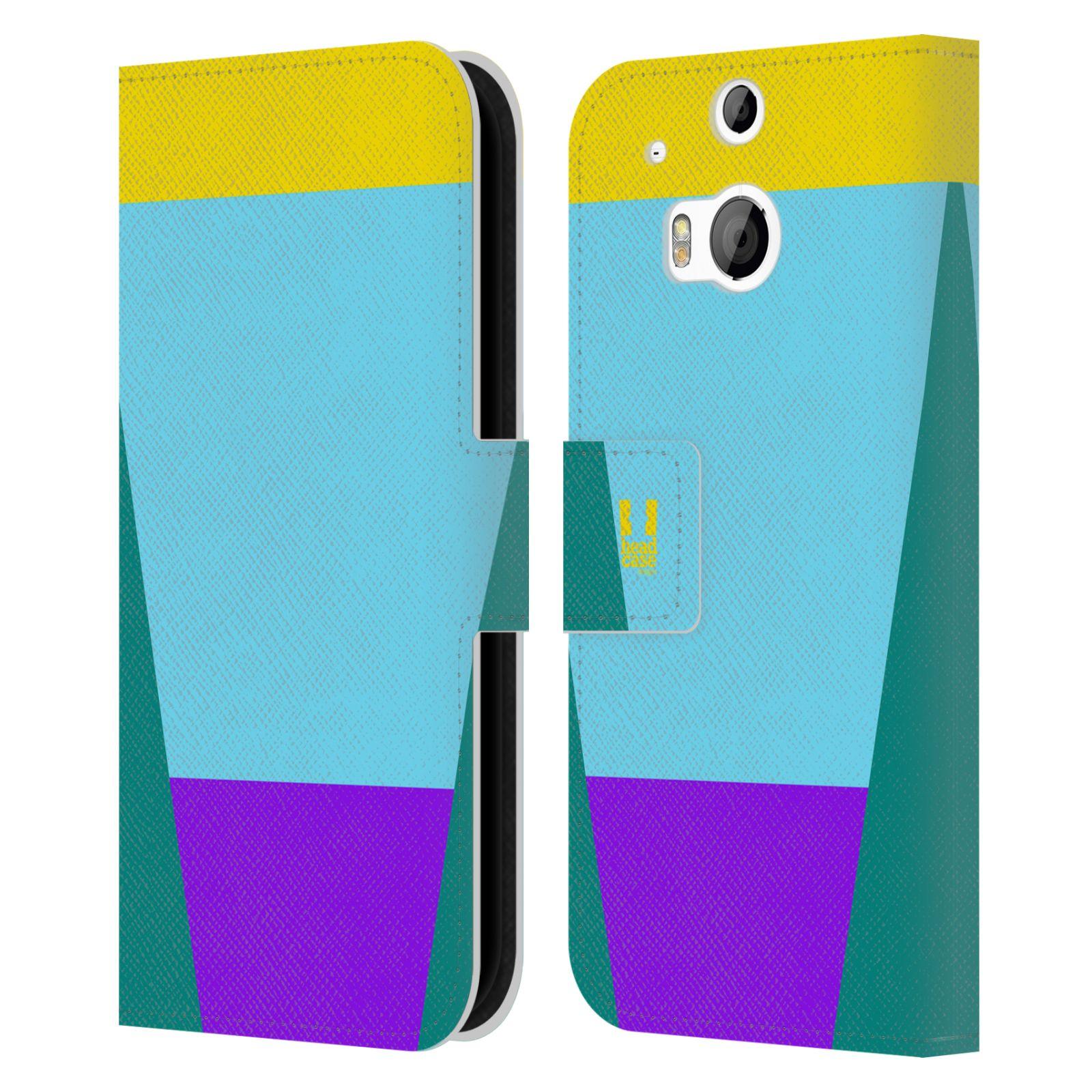 HEAD CASE Flipové pouzdro pro mobil HTC ONE M8/M8s barevné tvary nebesky modrá