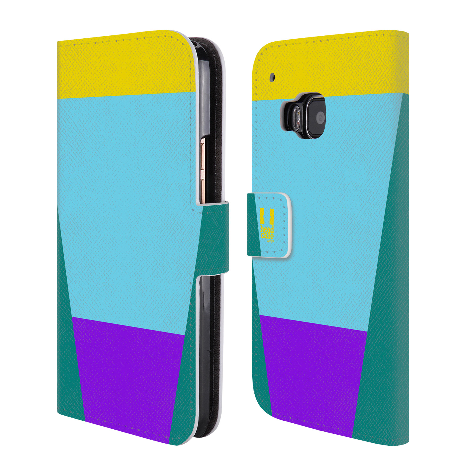 HEAD CASE Flipové pouzdro pro mobil HTC ONE M9 barevné tvary nebesky modrá
