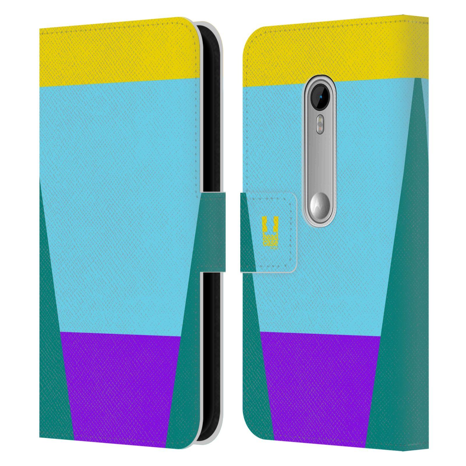 HEAD CASE Flipové pouzdro pro mobil Motorola MOTO G 3RD GENERATION barevné tvary nebesky modrá
