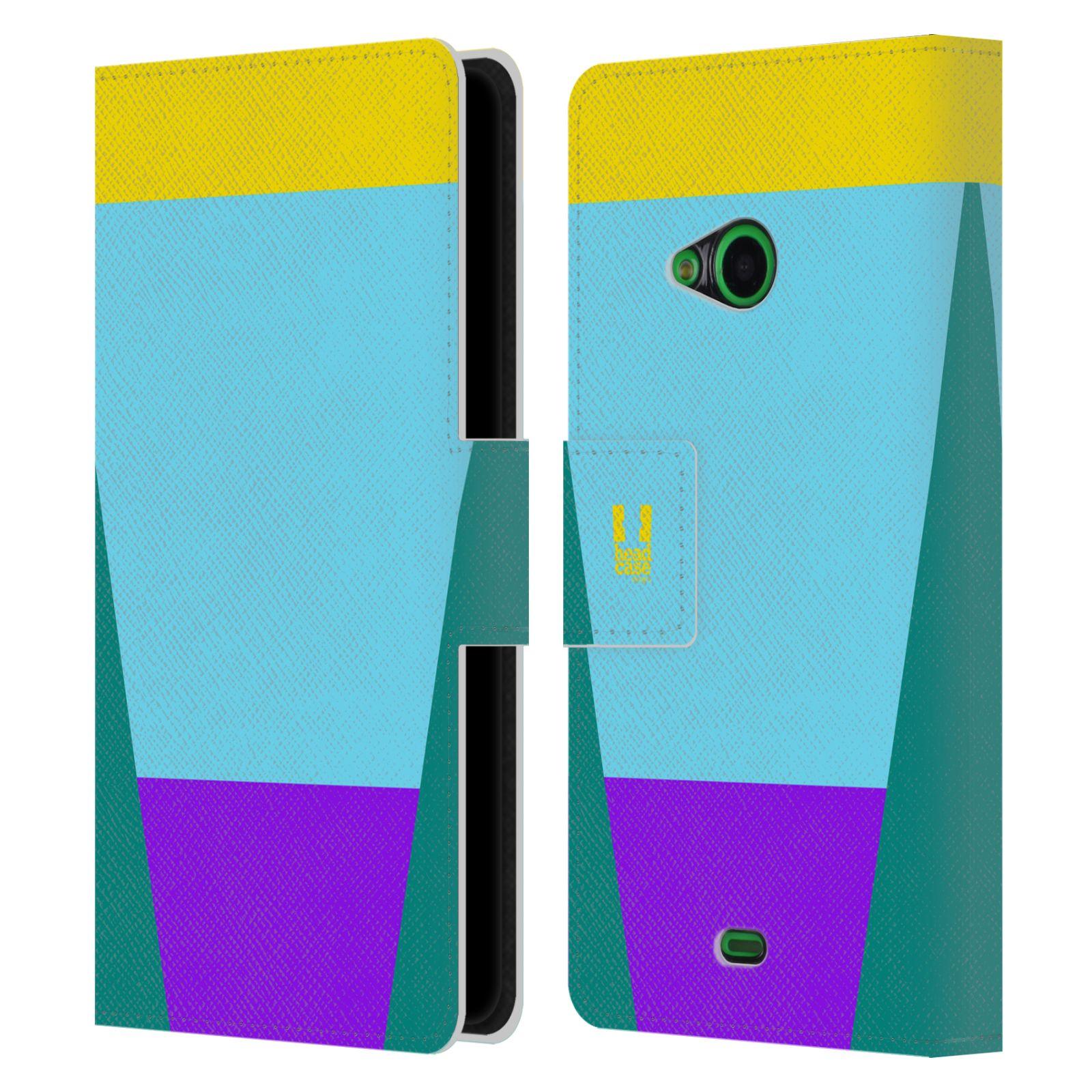 HEAD CASE Flipové pouzdro pro mobil Nokia LUMIA 535 barevné tvary nebesky modrá